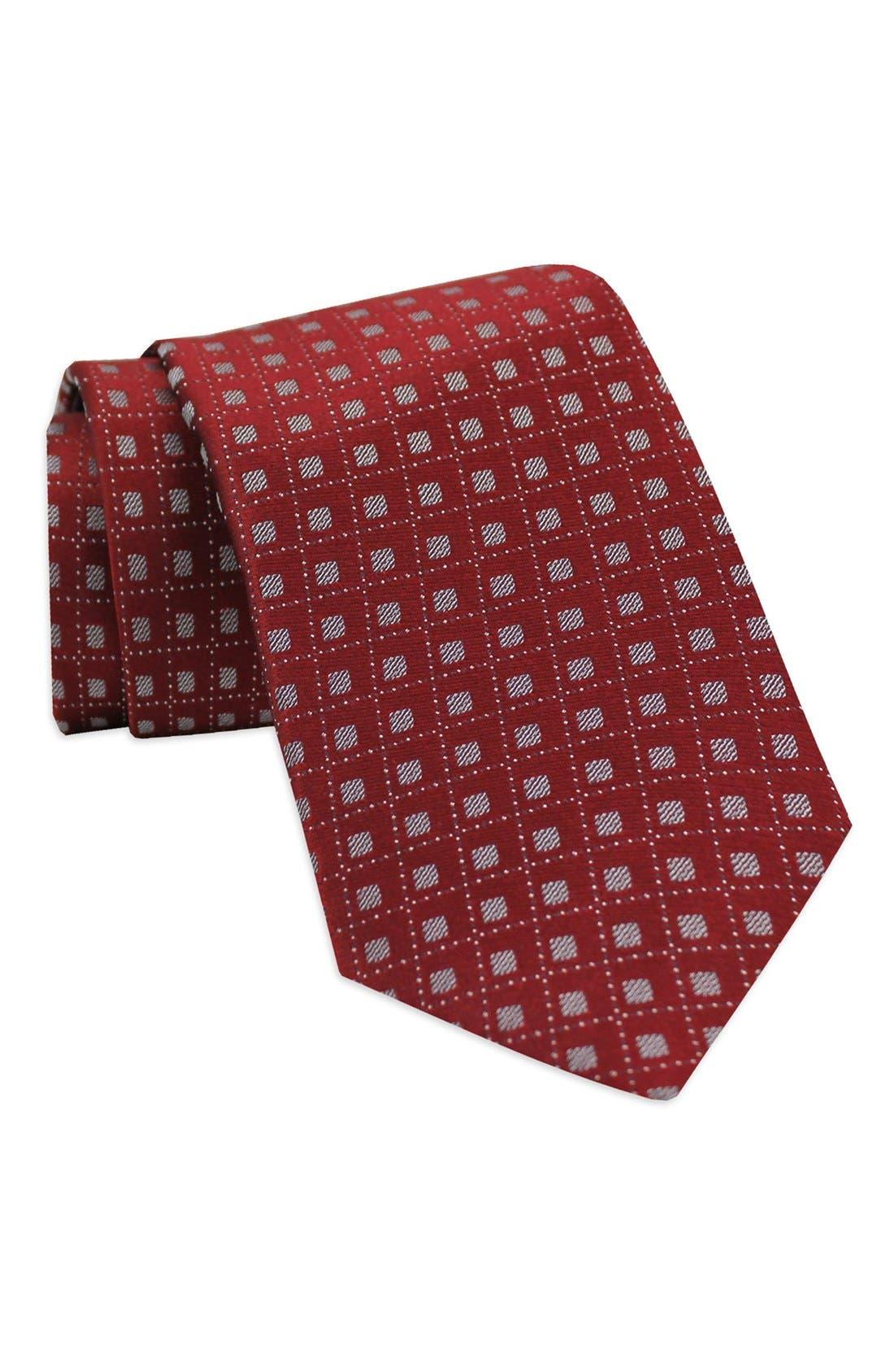 Geometric Woven Silk Tie,                         Main,                         color, Burgundy