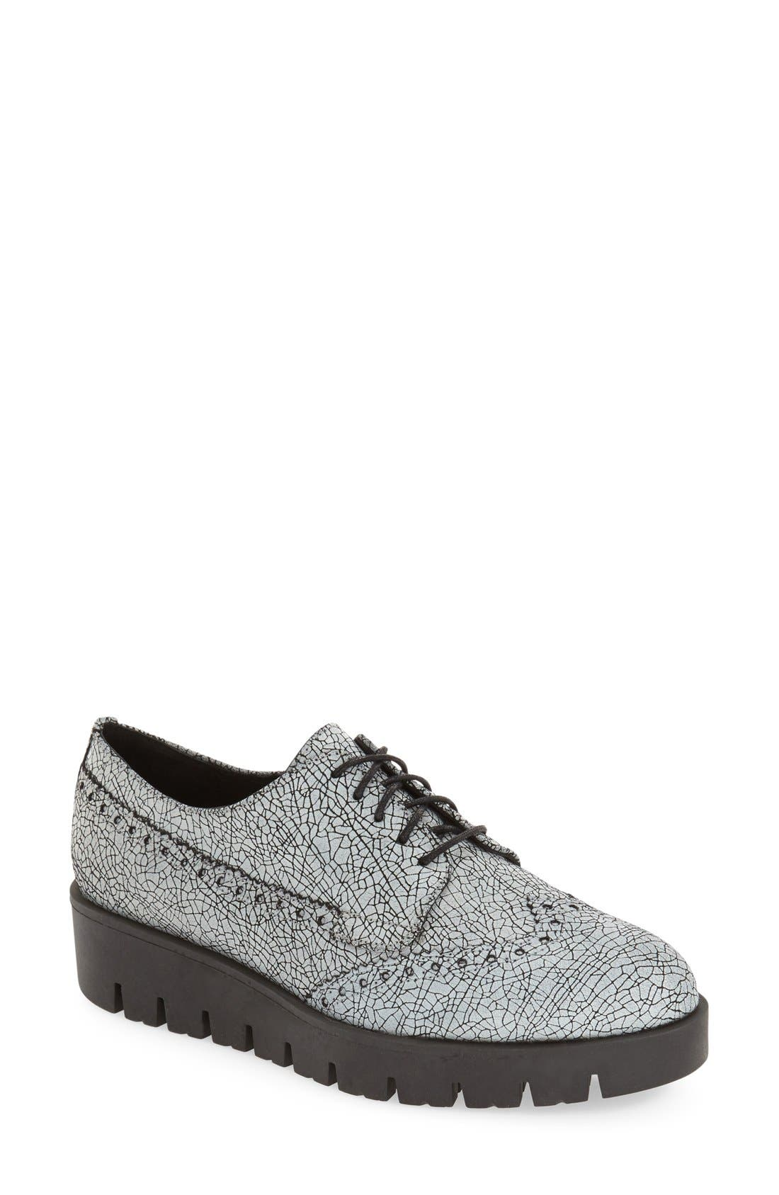 'Tarrah' Platform Oxford,                             Main thumbnail 1, color,                             White Leather