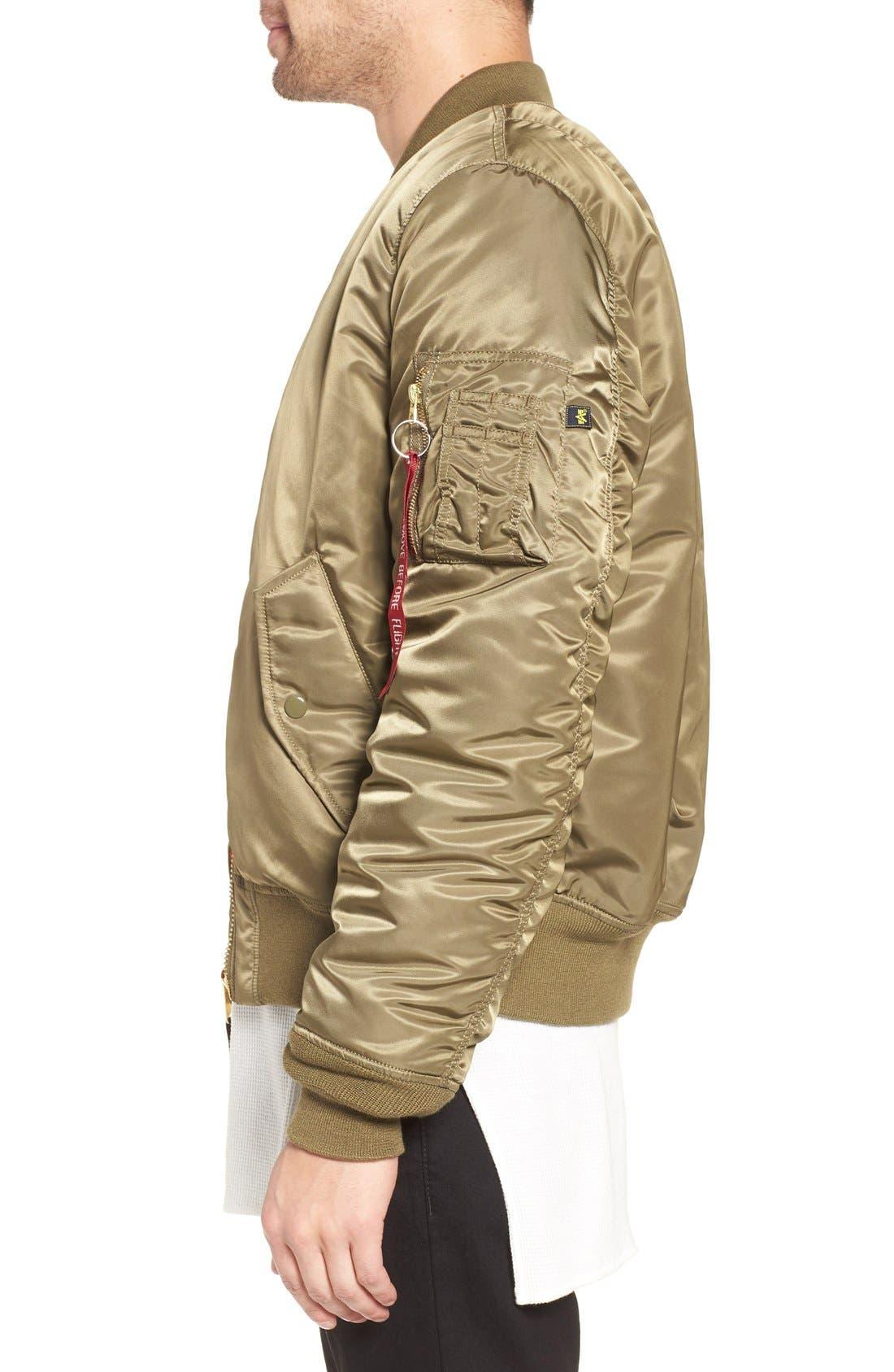 'MA-1' Slim Fit Bomber Jacket,                             Alternate thumbnail 3, color,                             Vintage Olive