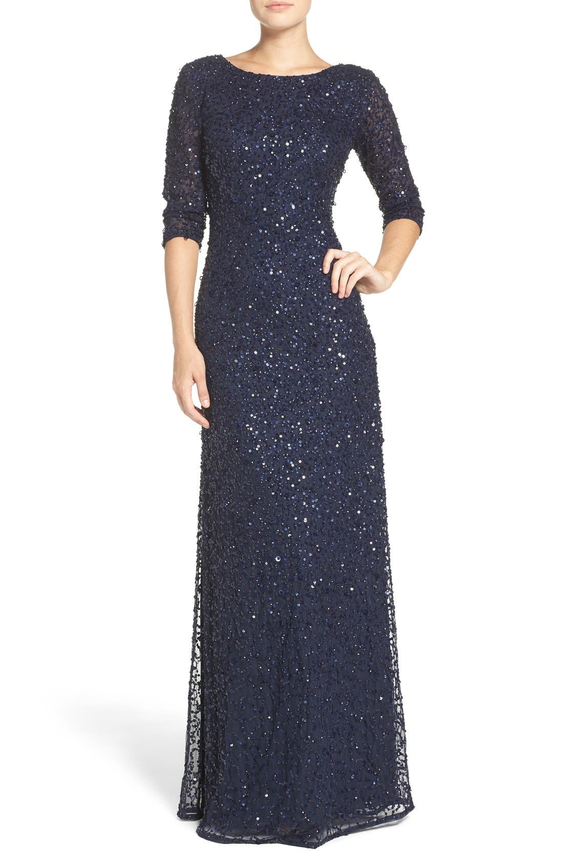 Sequin Mesh Gown,                         Main,                         color, Navy
