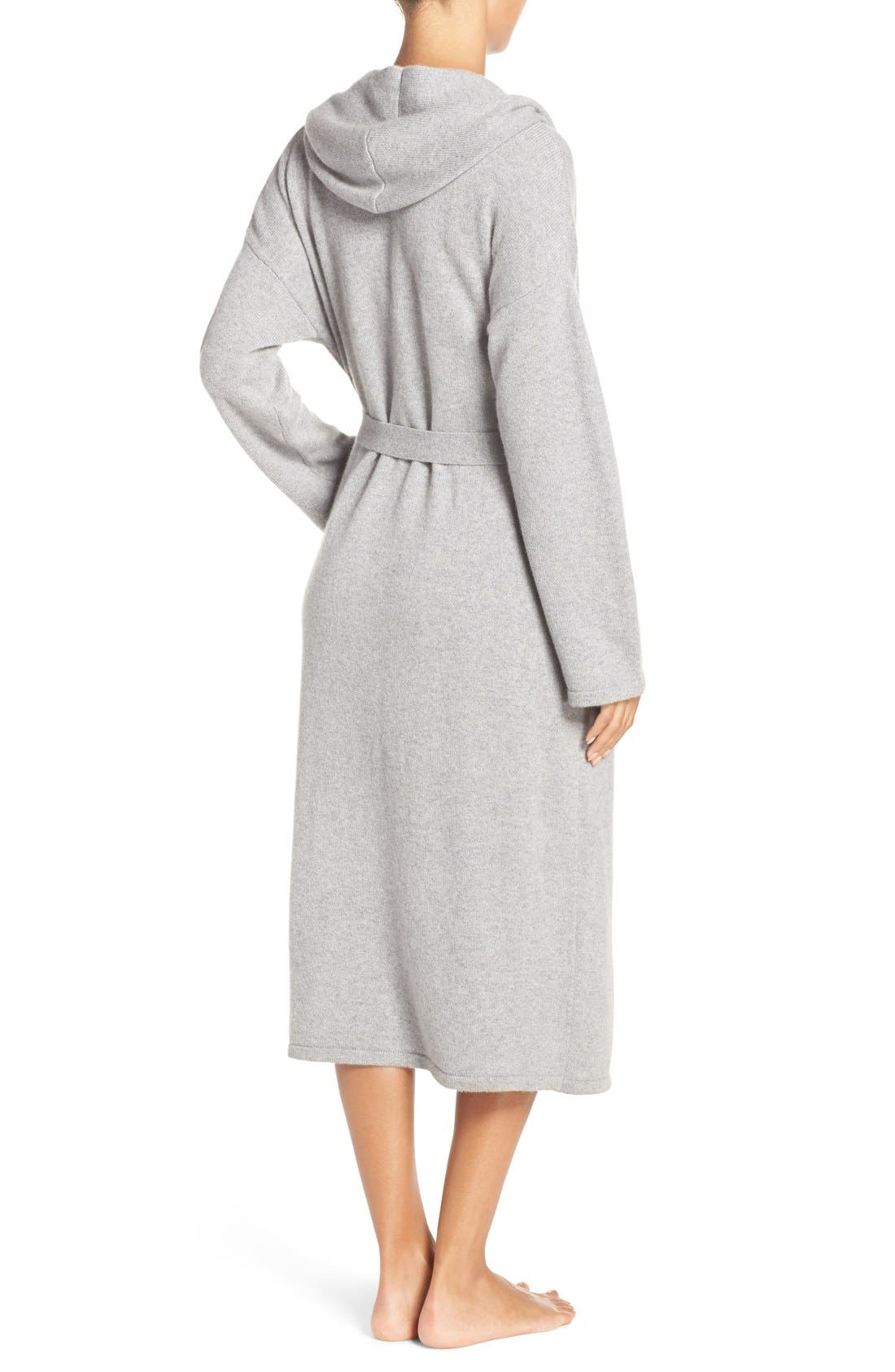 'Evie' Hooded Cashmere Robe,                             Alternate thumbnail 2, color,                             Grey Heather