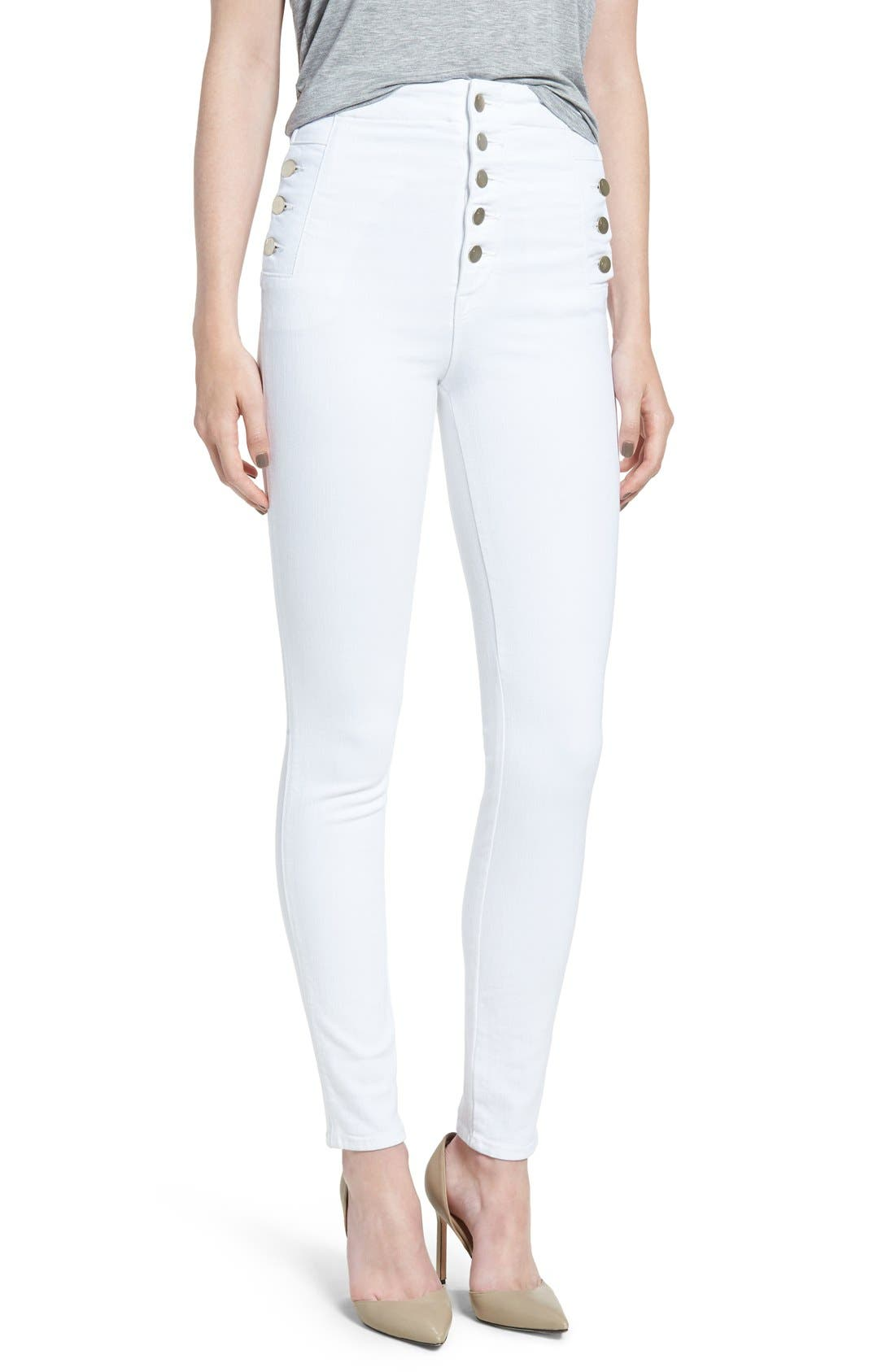 Alternate Image 1 Selected - J Brand 'Natasha Sky High' High Rise Skinny Jeans (Blanc)