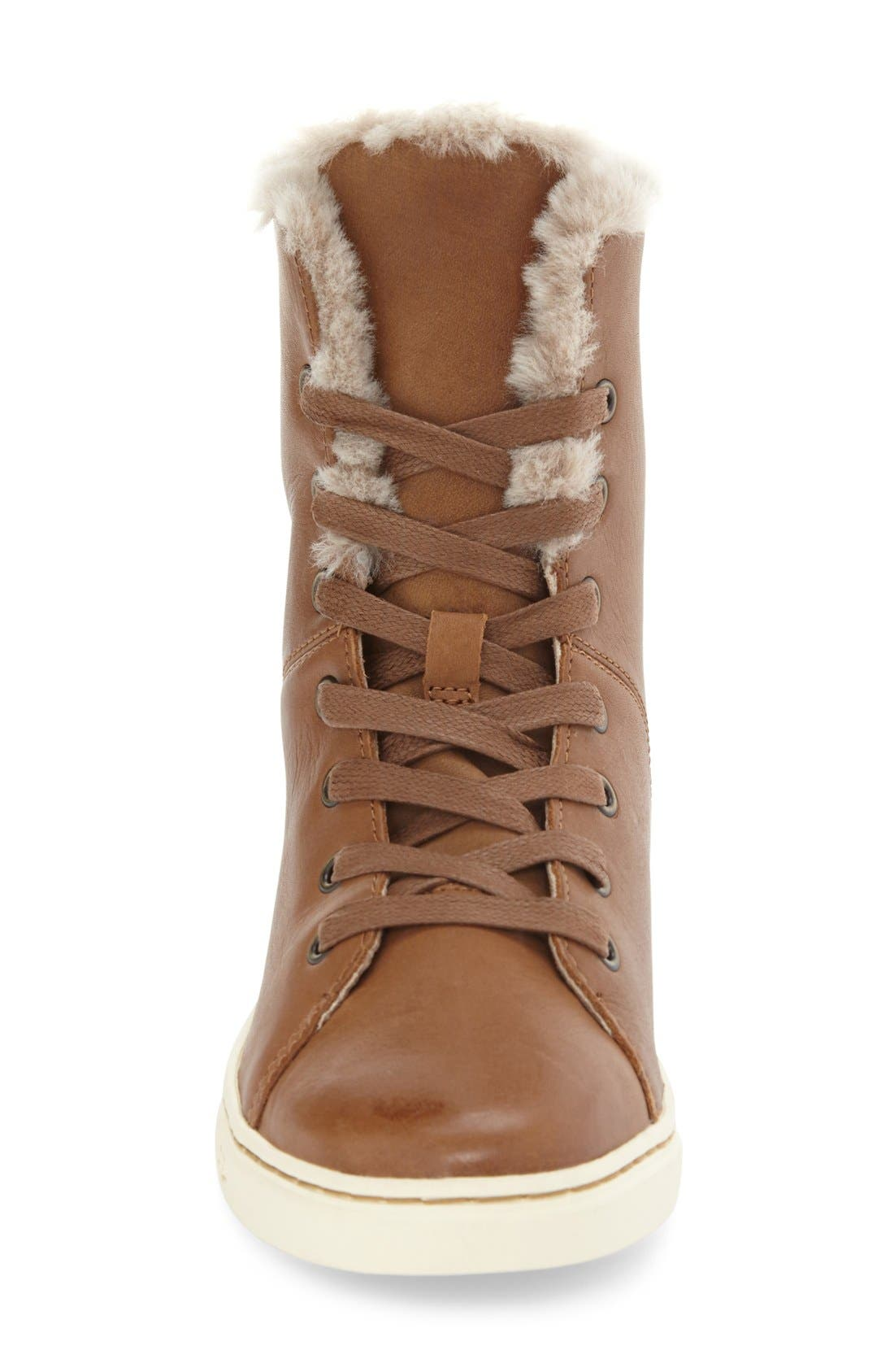Alternate Image 3  - UGG® 'Croft Luxe' Genuine Shearling High Top Sneaker (Women)