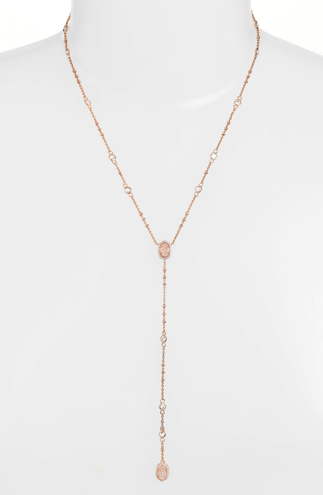 'Claudia' Crystal Y-Necklace,                             Main thumbnail 1, color,                             Rose Gold Drusy White Cz