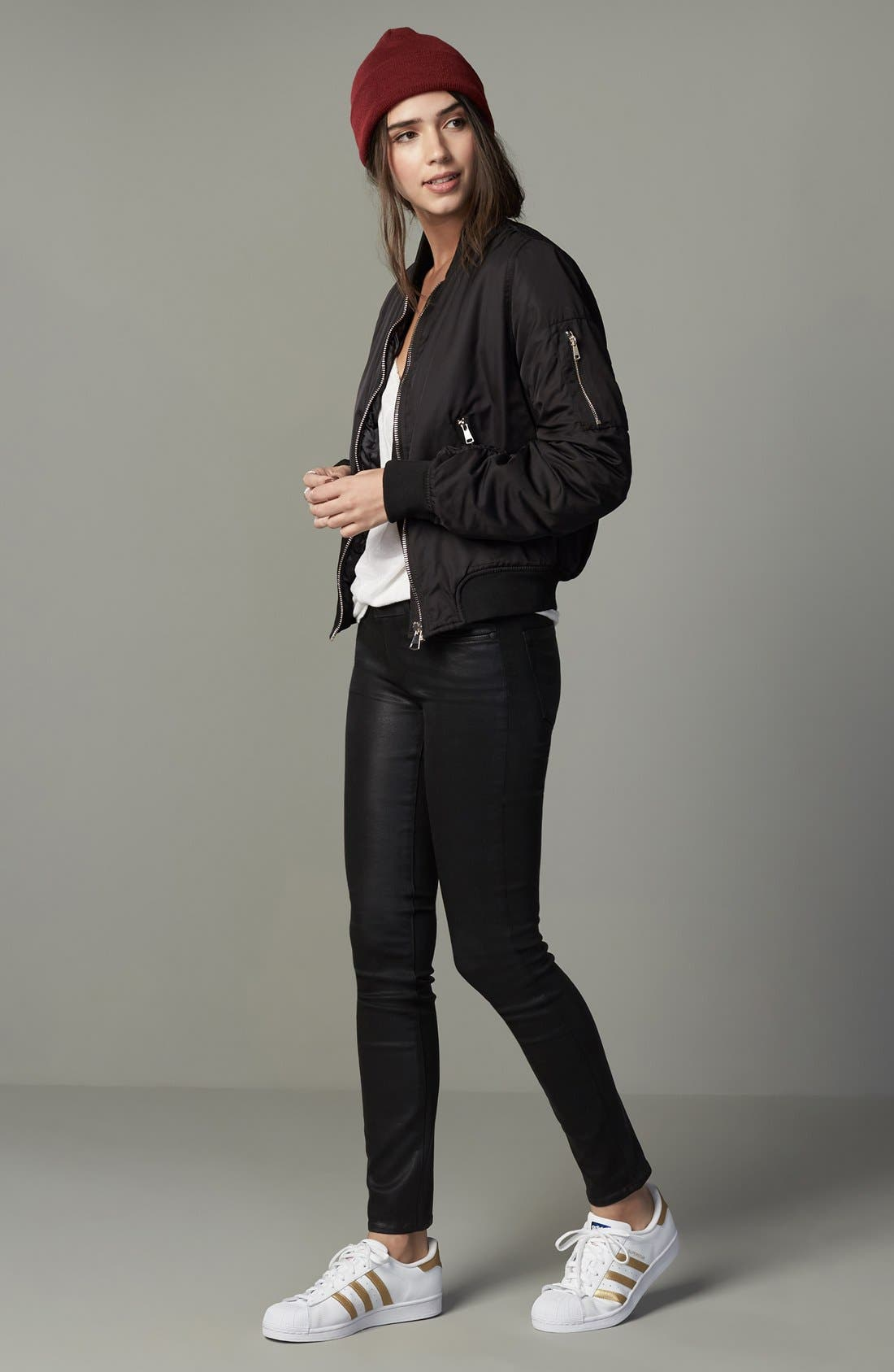Alternate Image 6  - PAIGE Verdugo Coated Ankle Skinny Jeans (Black Fog Luxe Coated) (Nordstrom Exclusive)