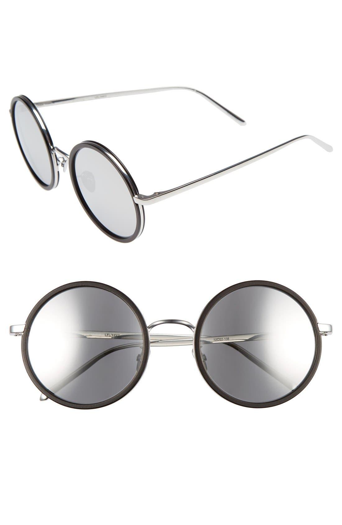 Linda Farrow 52mm Round 18 Karat White Gold Trim Sunglasses