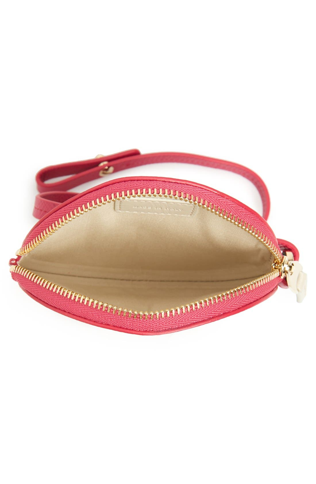 Circle Leather Coin Purse,                             Alternate thumbnail 3, color,                             Fuchsia
