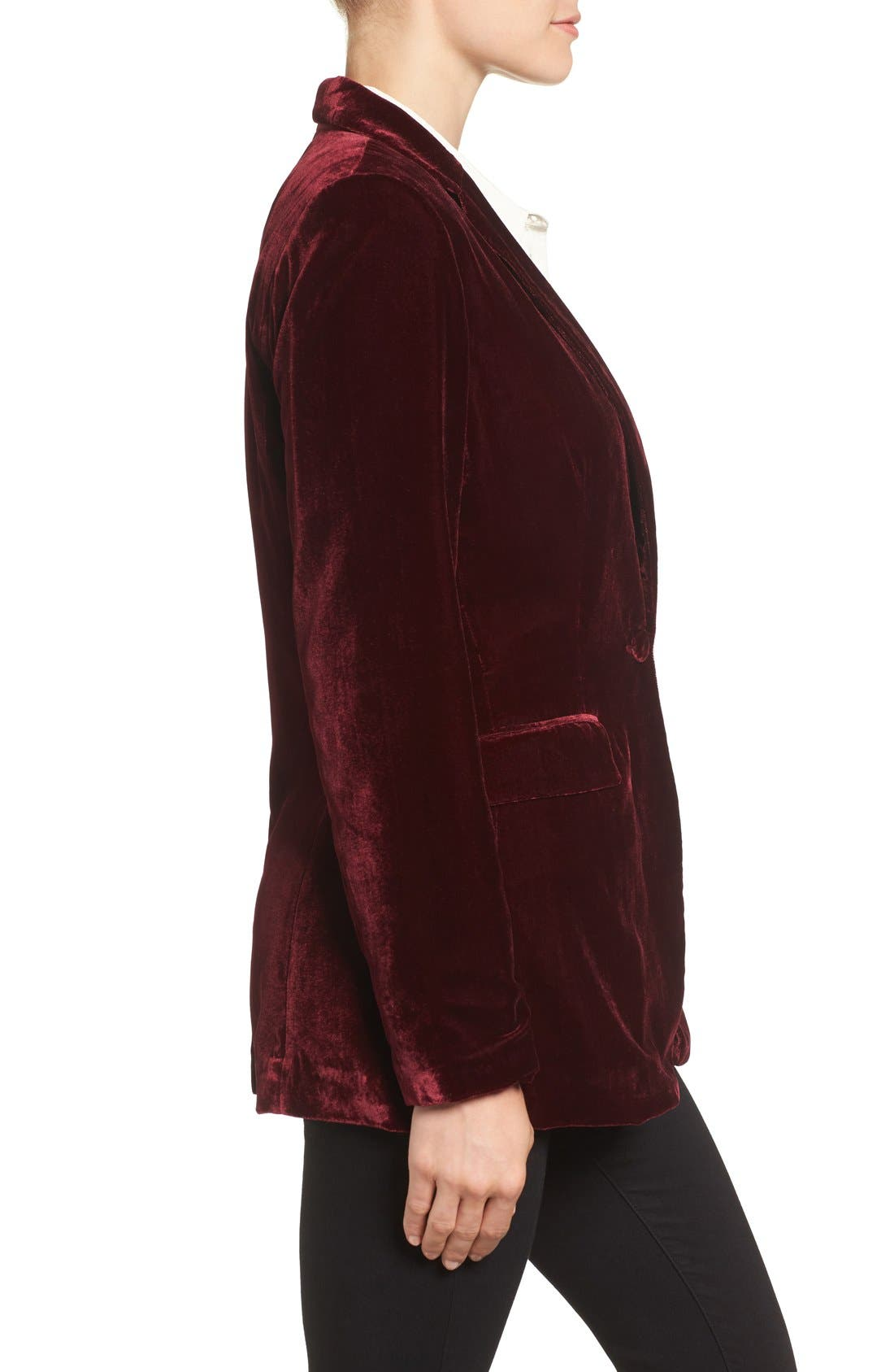 Alternate Image 3  - Halogen® Velvet Blazer (Regular & Petite)