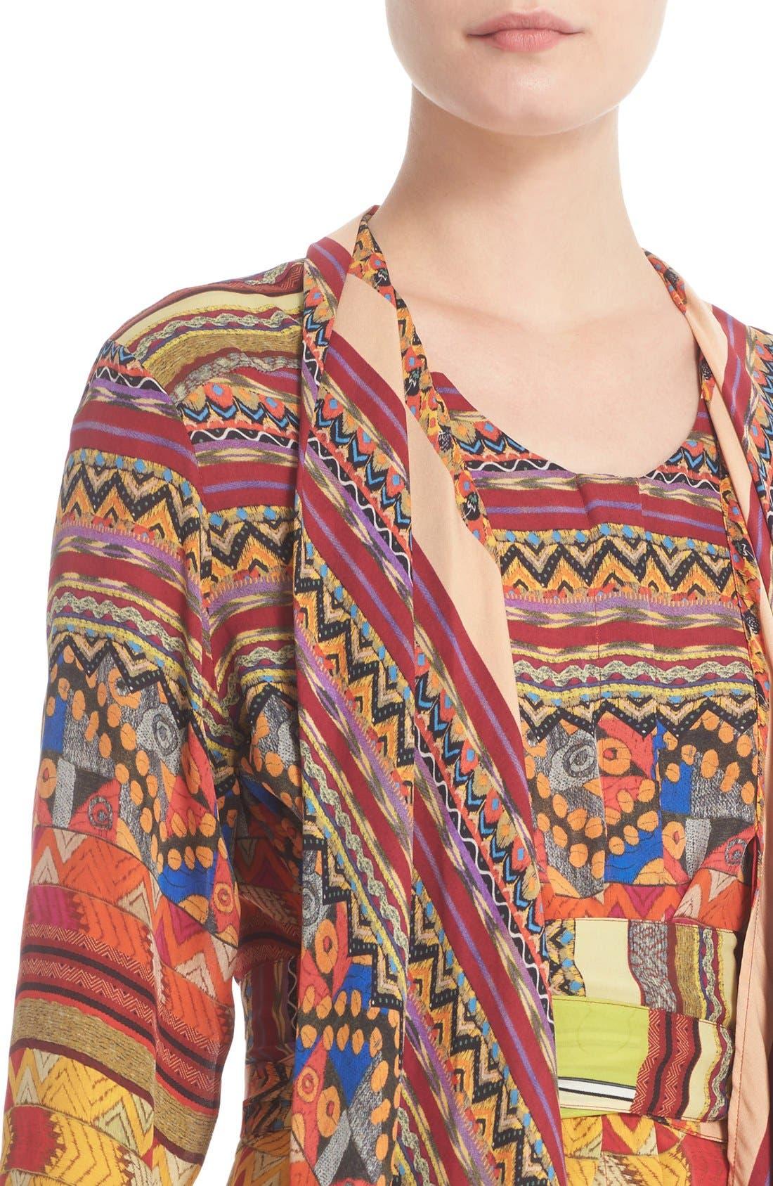 Alternate Image 6  - Etro Ribbon Print Silk Faux Shawl Top