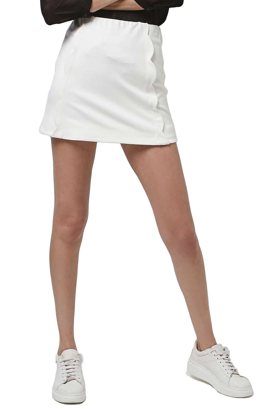 Alternate Image 1 Selected - Topshop Scallop Front Miniskirt