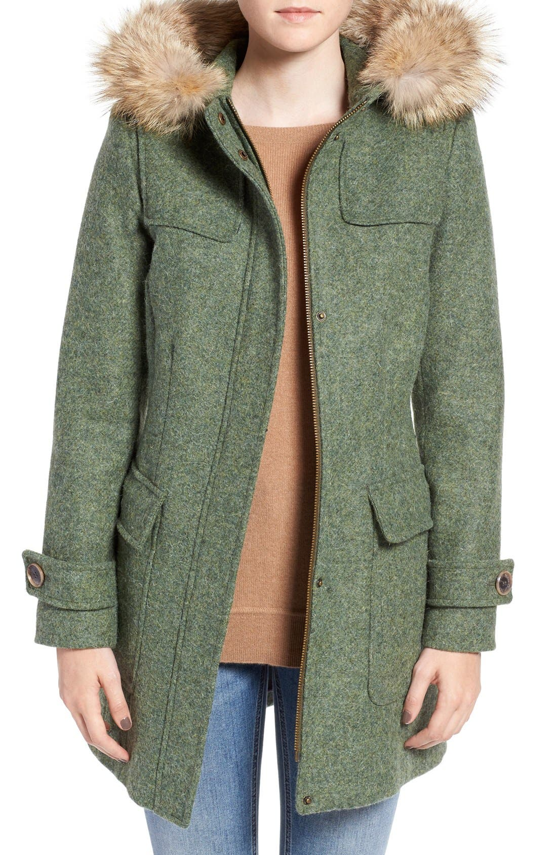 Pendleton Portland Wool Duffle Coat with Genuine Fur Trim