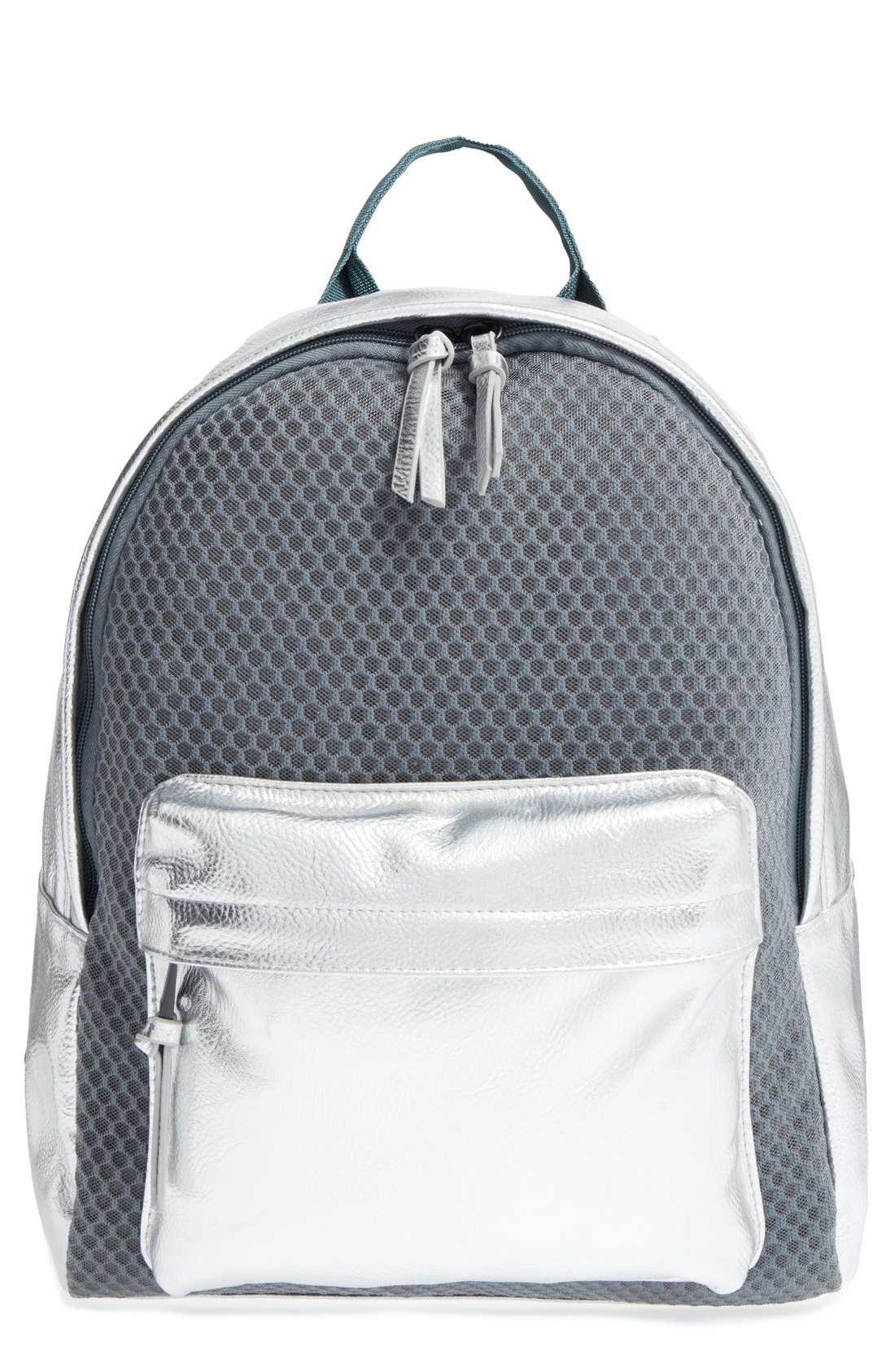 Alternate Image 1 Selected - POVERTY FLATS by rian 'Sport' Faux Leather & Mesh Backpack
