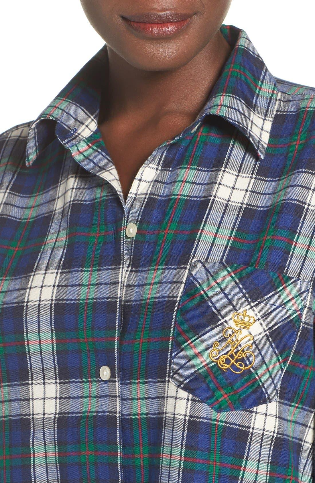 Plaid Woven Sleep Shirt,                             Alternate thumbnail 4, color,                             Plaid Cream/ Blue/ Green