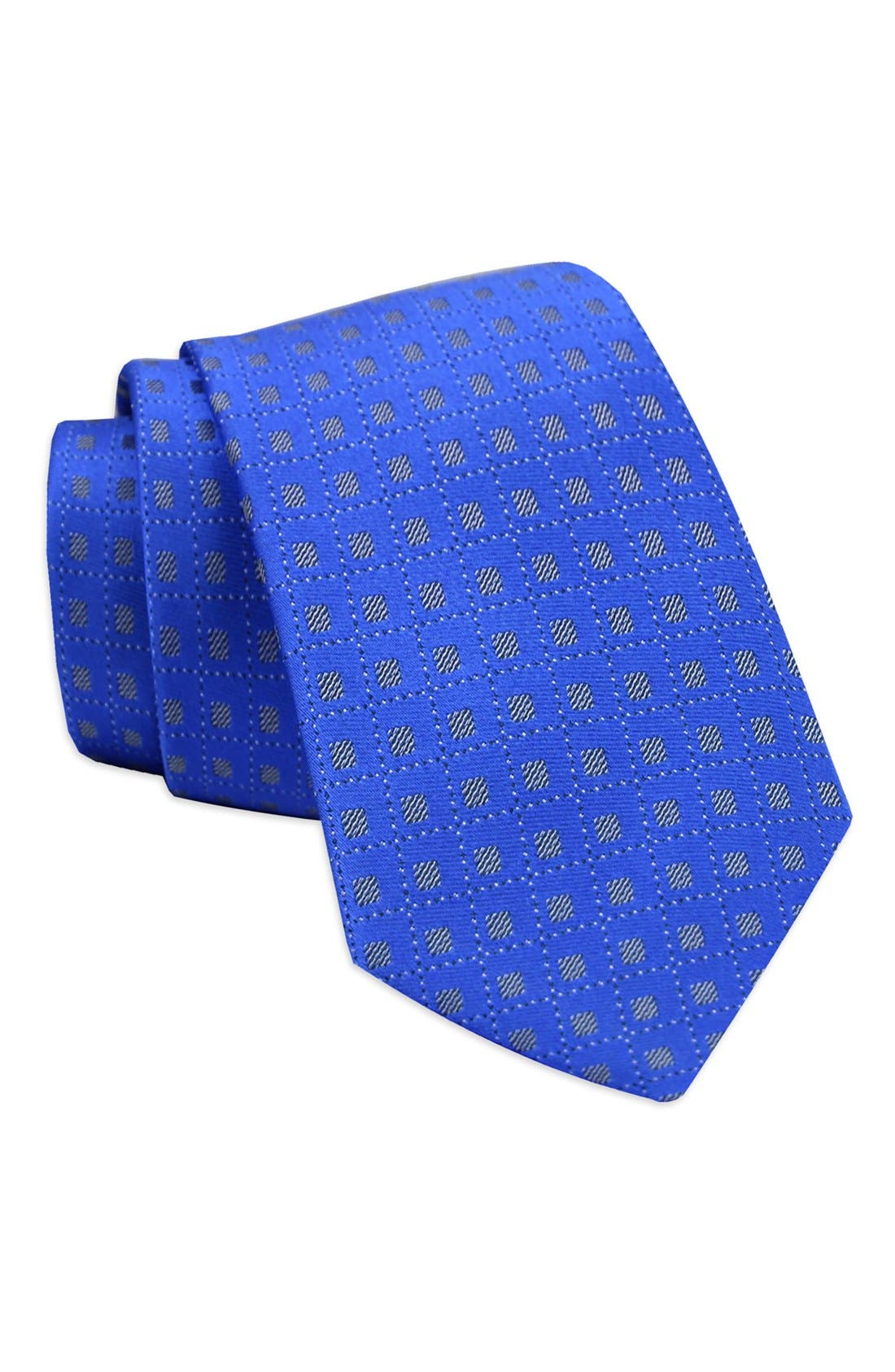 Geometric Silk Tie,                         Main,                         color, Royal Blue