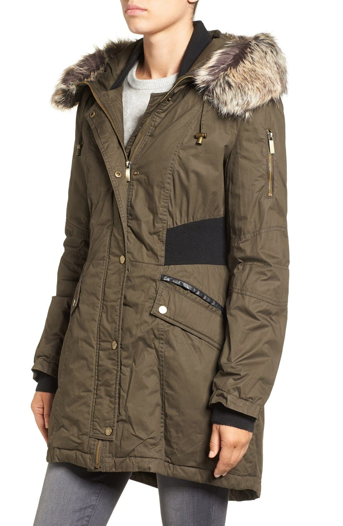 Mixed Media Parka with Faux Fur Trim Hood,                             Alternate thumbnail 3, color,                             Turtle