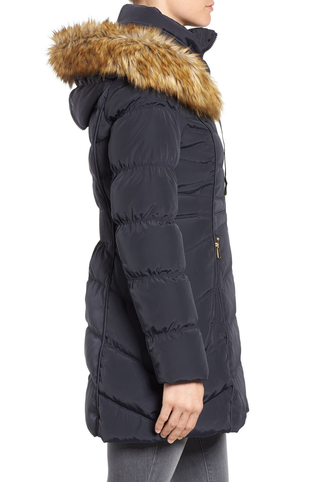 Hooded Down & Feather Fill Coat with Detachable Faux Fur Trim,                             Alternate thumbnail 3, color,                             Mystic Blue