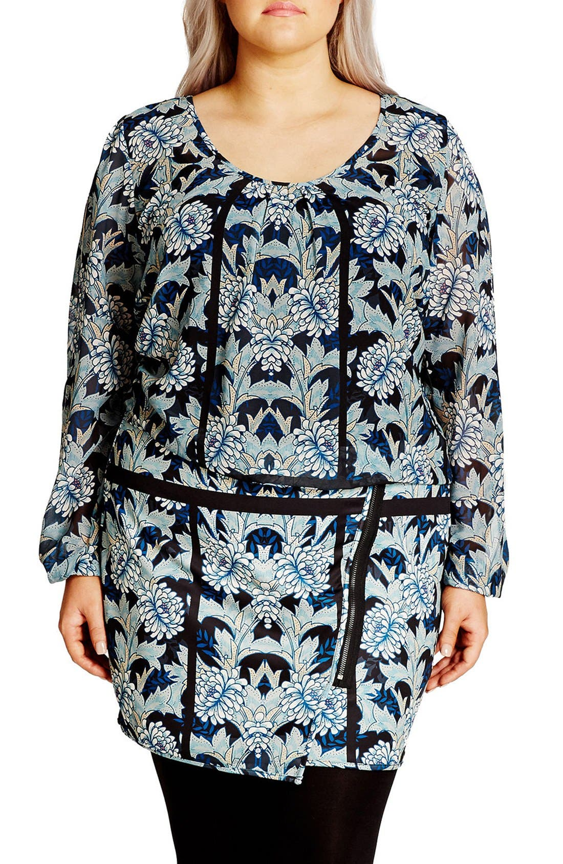 Main Image - City Chic 'Stained Glass' Blouson Minidress (Plus Size)