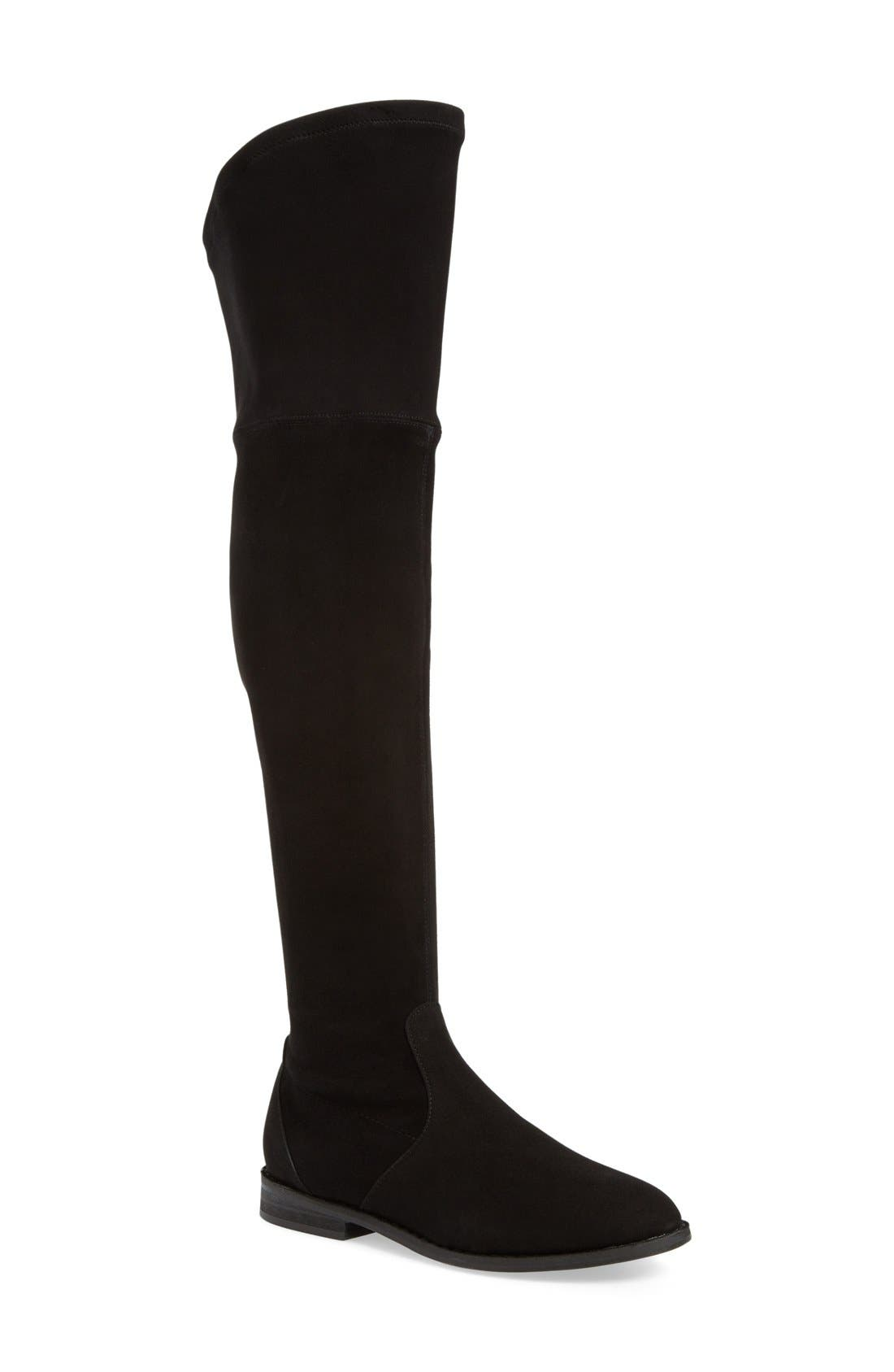 'Emma' Over the Knee Boot,                             Main thumbnail 1, color,                             Black Suede