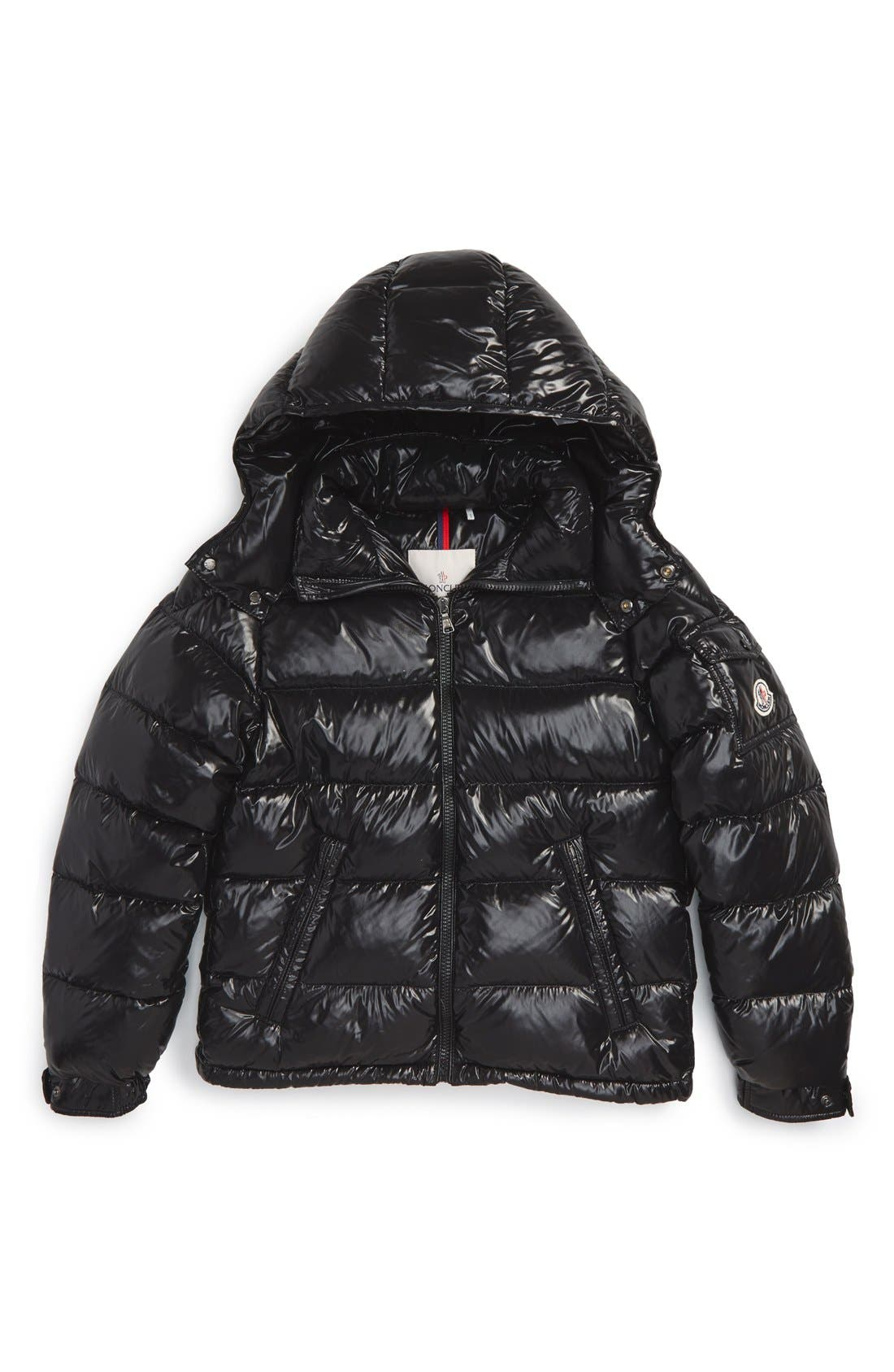 'Maya' Shiny Water Resistant Down Jacket,                             Main thumbnail 1, color,                             Black