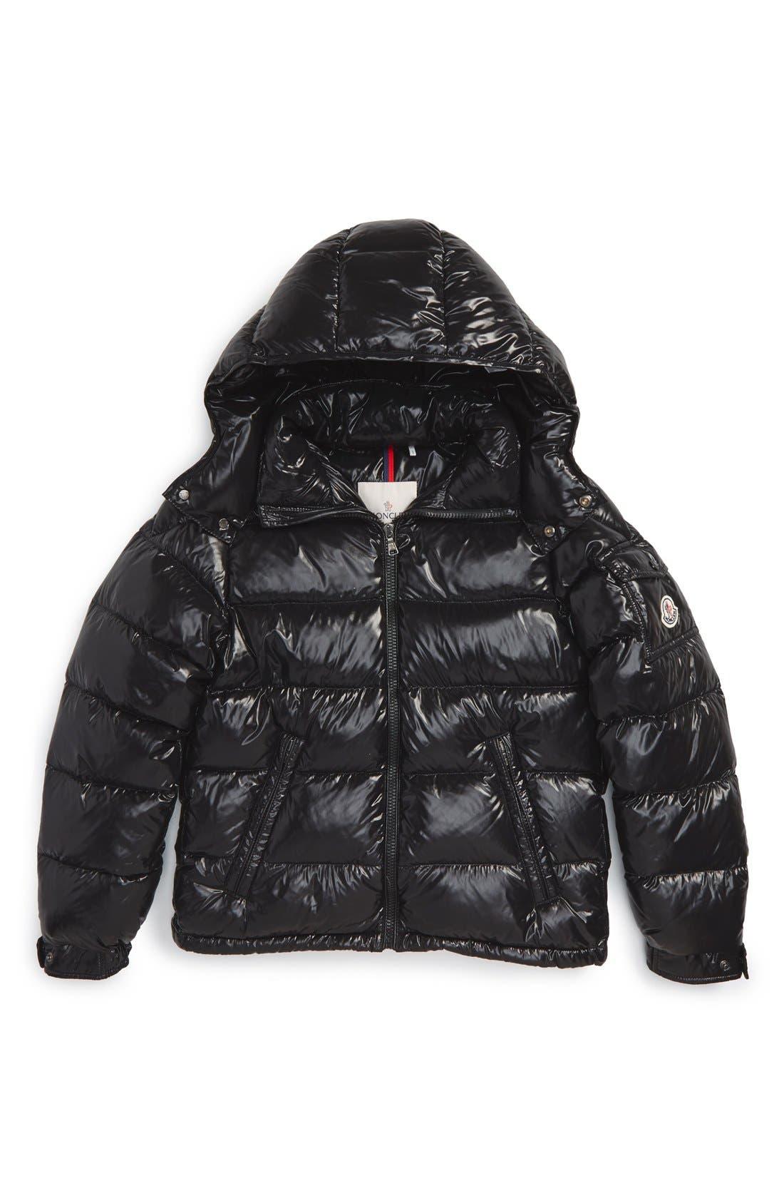 'Maya' Shiny Water Resistant Down Jacket,                         Main,                         color, Black