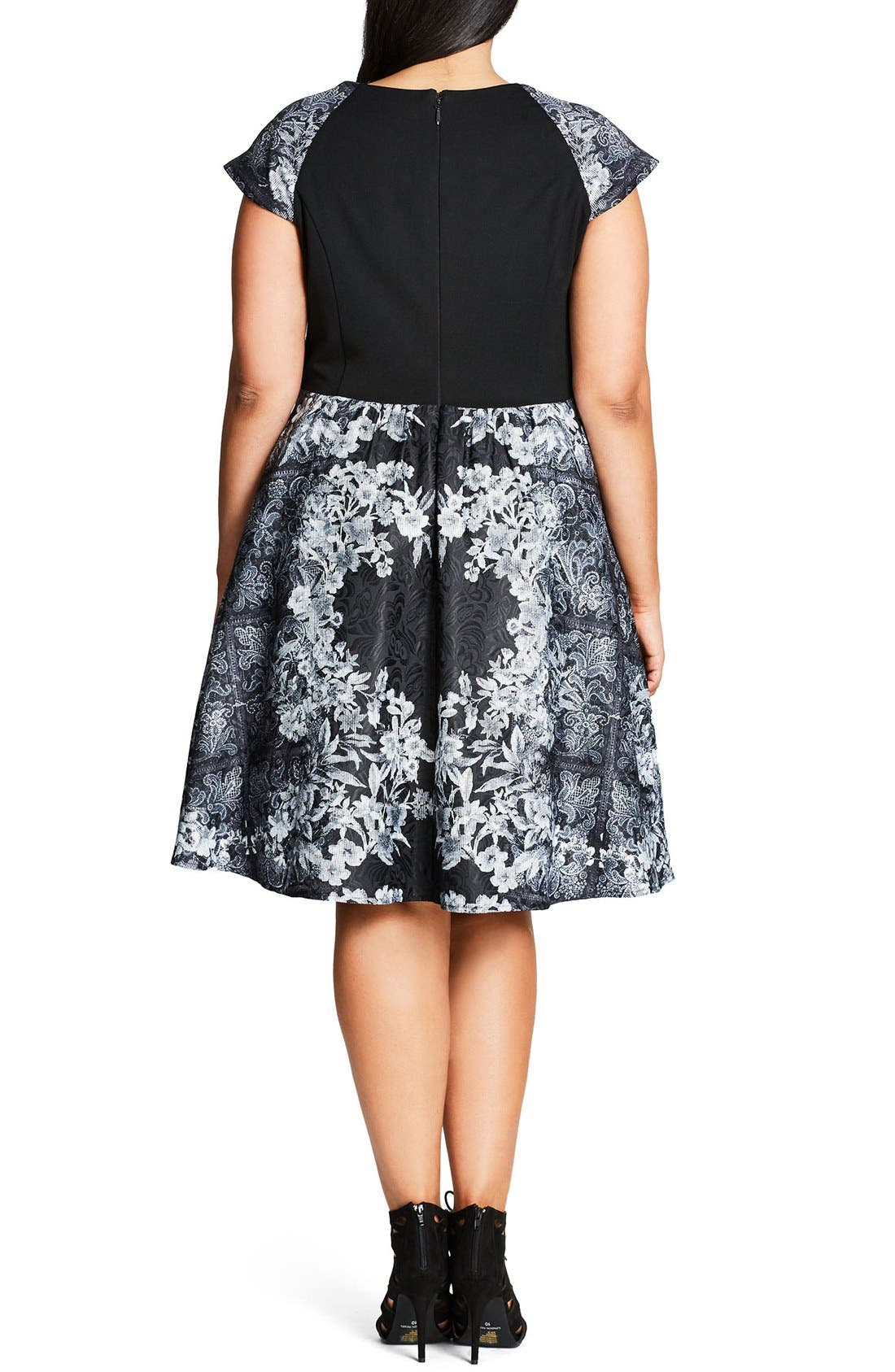Alternate Image 2  - City Chic 'Femme Royale' Fit & Flare Dress (Plus Size)