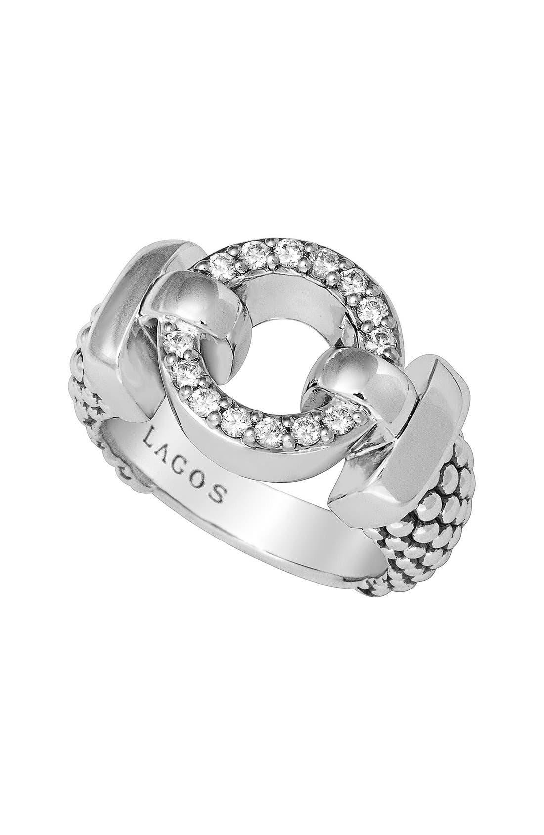 'Enso - Circle Game' Diamond Caviar Ring,                             Alternate thumbnail 3, color,                             Silver