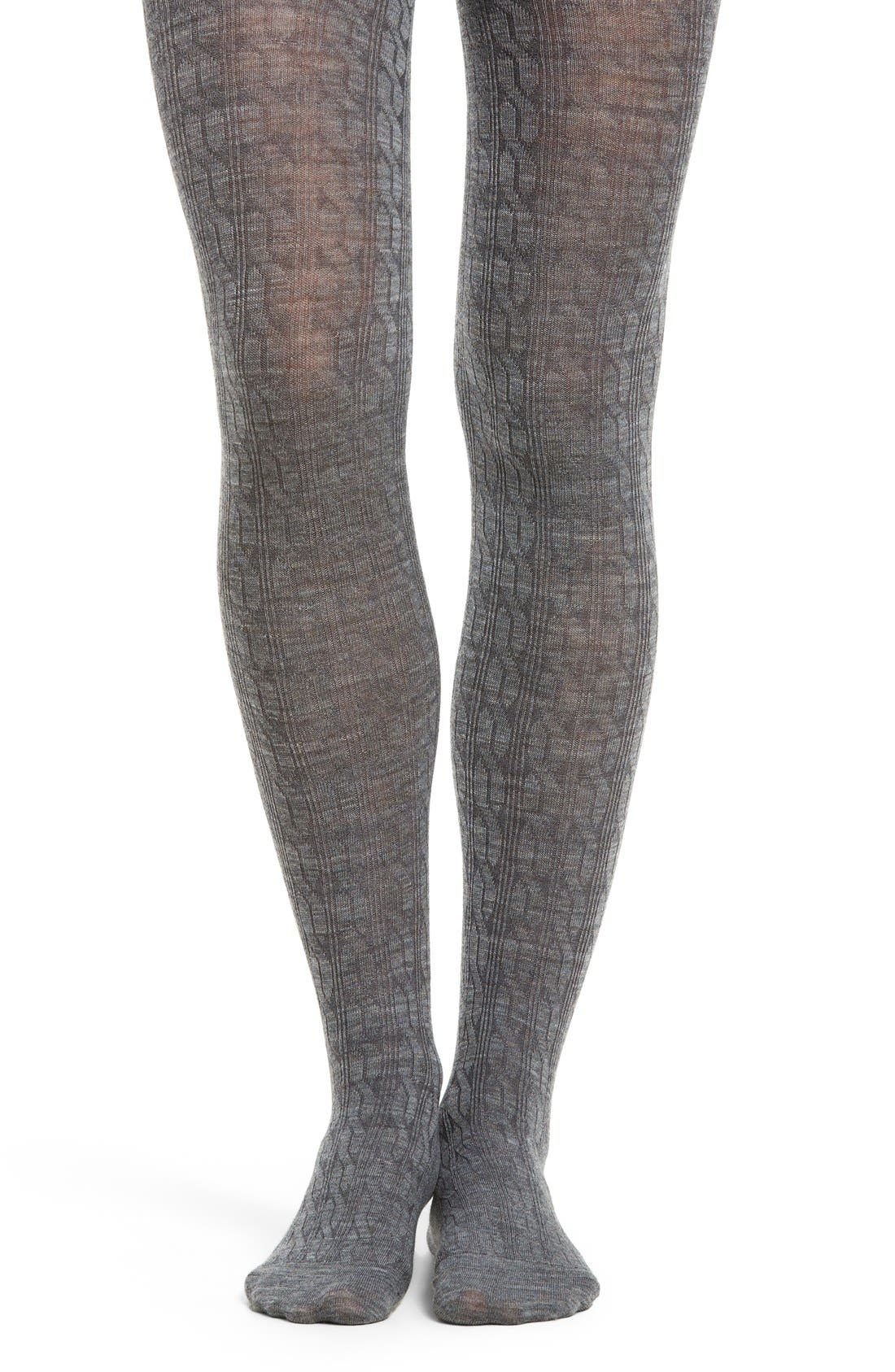 Cable Knit Tights,                             Main thumbnail 1, color,                             Medium Gray
