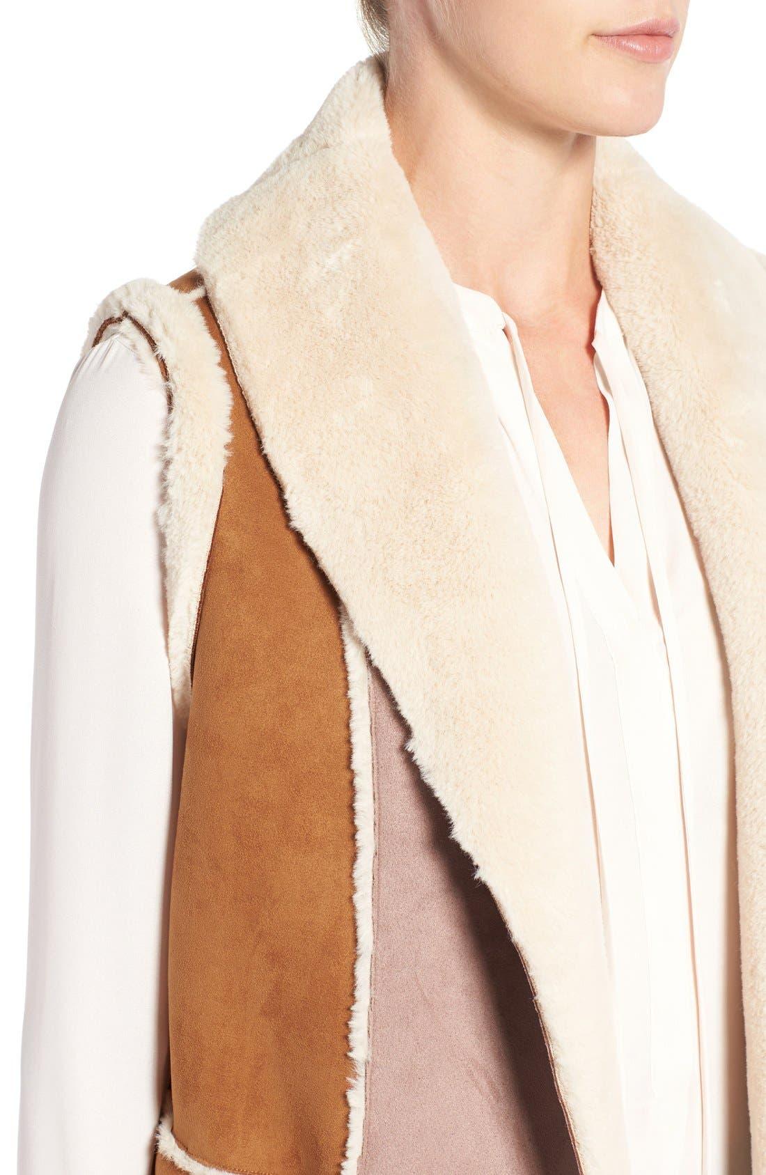 Long Faux Shearling Vest,                             Alternate thumbnail 4, color,                             Cognac