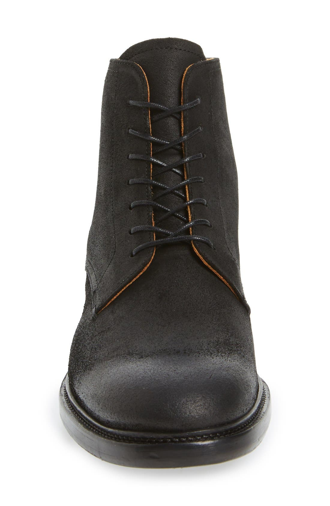 'Sorem' Plain-Toe Derby Boot,                             Alternate thumbnail 3, color,                             Black Leather