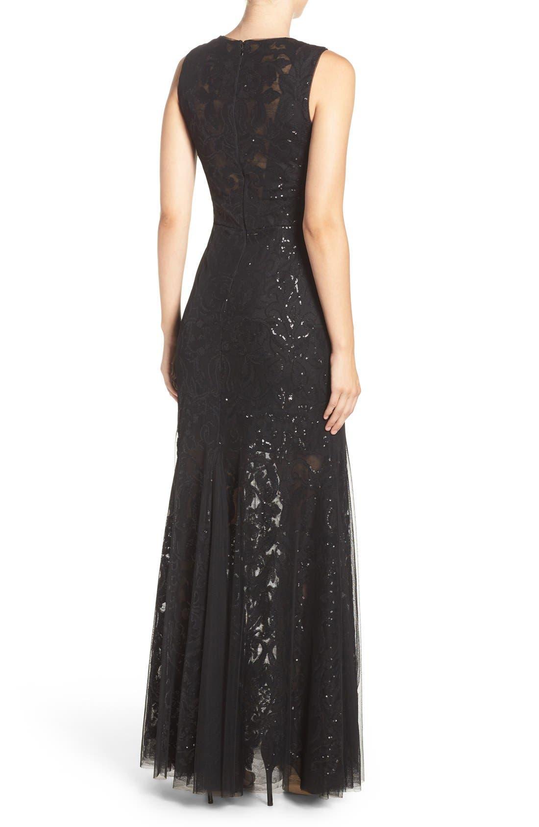 Sequin Lace & Tulle Gown,                             Alternate thumbnail 2, color,                             Black