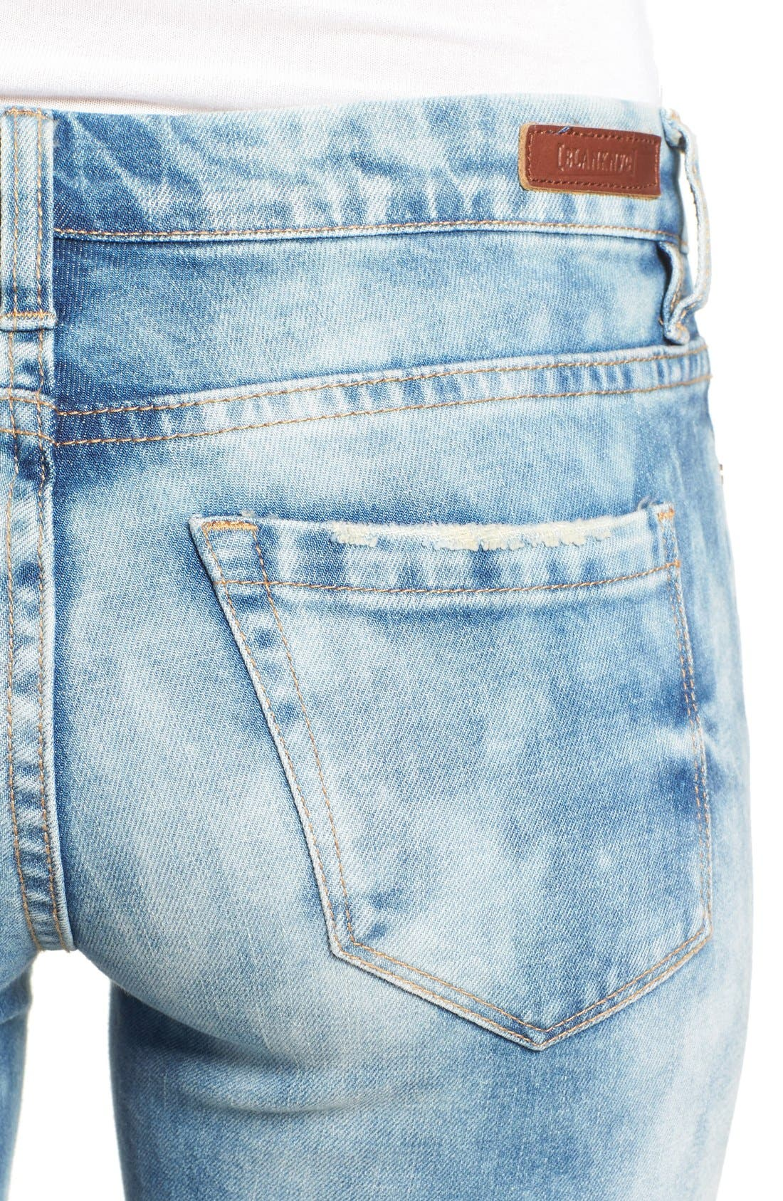 Alternate Image 5  - BLANKNYC Good Vibes Distressed Skinny Jeans (Medium Wash Blue)