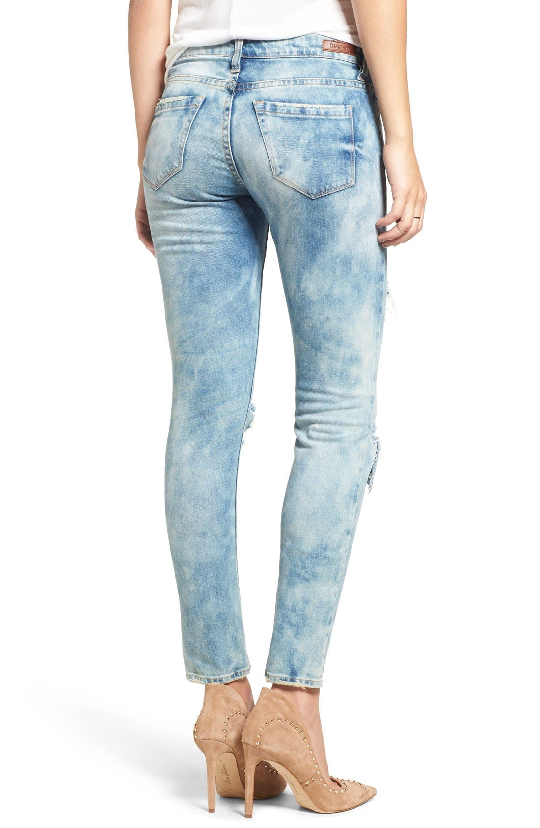 Good Vibes Distressed Skinny Jeans,                             Alternate thumbnail 3, color,                             Medium Wash Blue