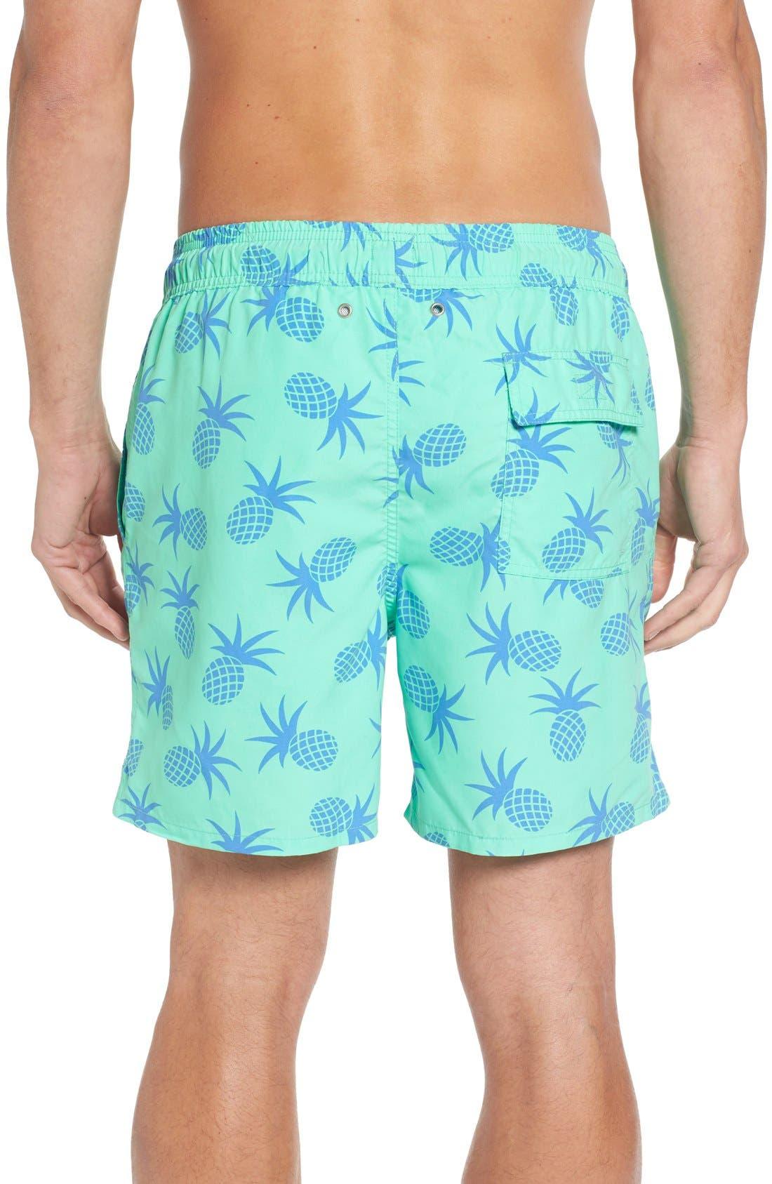 Pineapple Print Swim Trunks,                             Alternate thumbnail 2, color,                             Jade Green
