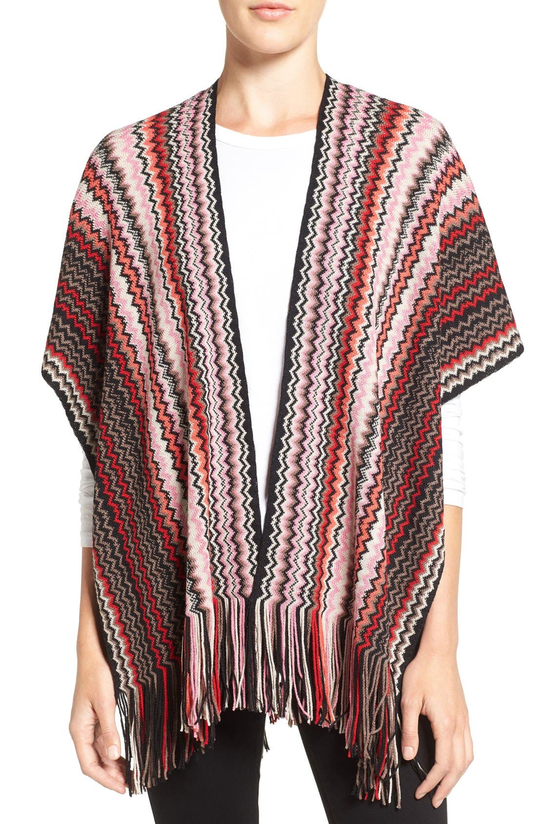 Fringe Zigzag Cape,                             Main thumbnail 1, color,                             Red/ Brown/ Pink