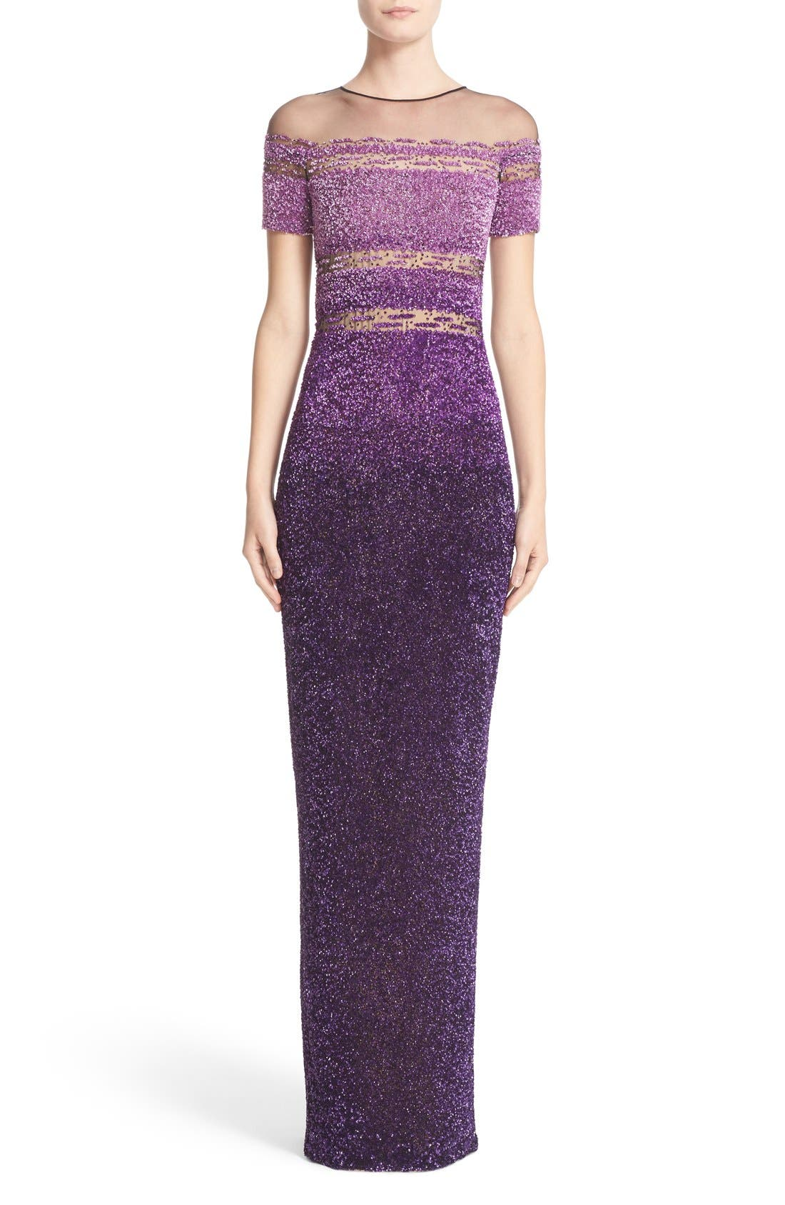 Pamella Roland Signature Sequin Short Sleeve Column Gown
