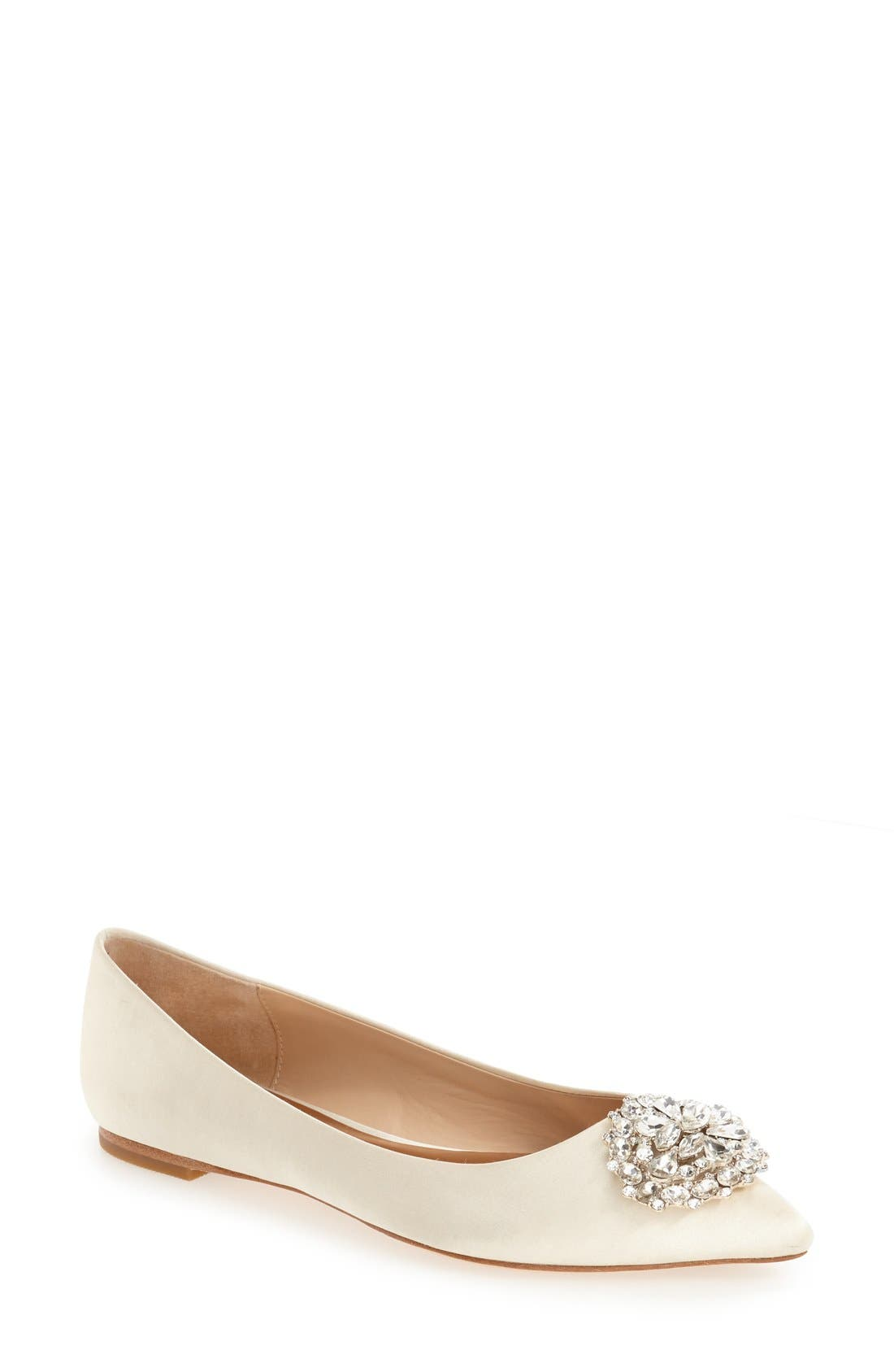 BADGLEY MISCHKA Davis Crystal Embellished Pointy Toe Flat