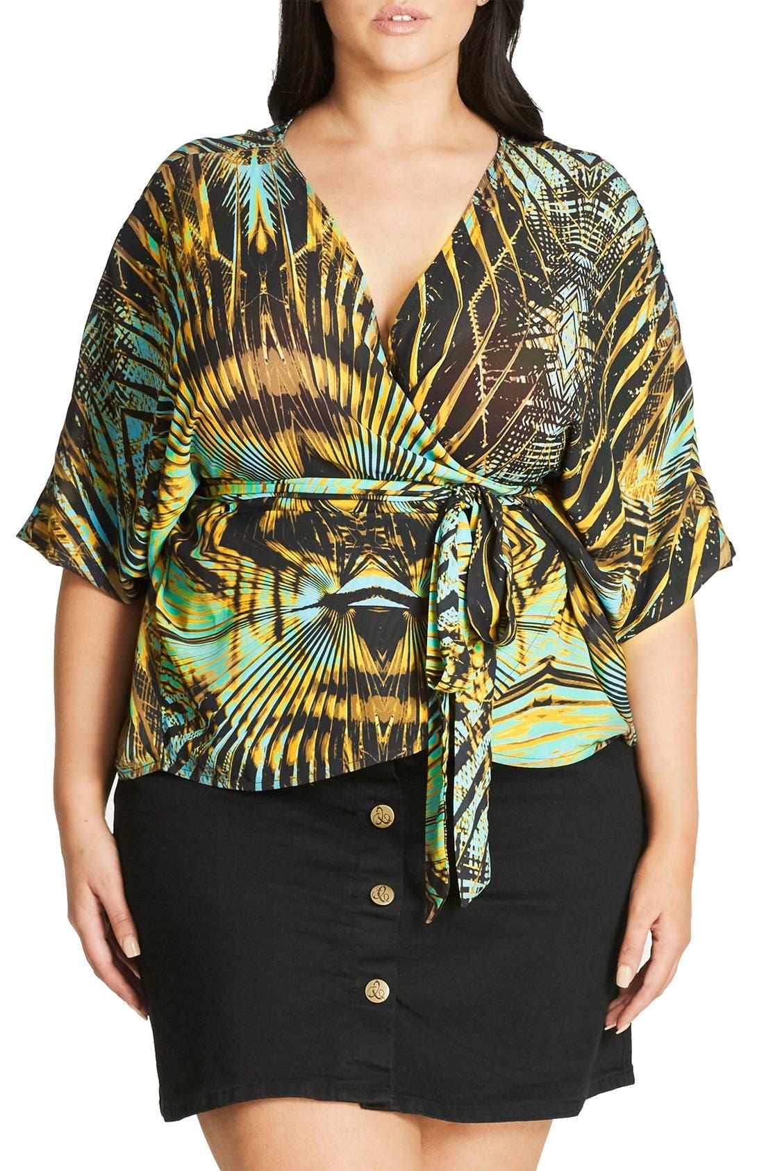 Main Image - City Chic Jungle Print Wrap Top (Plus Size)