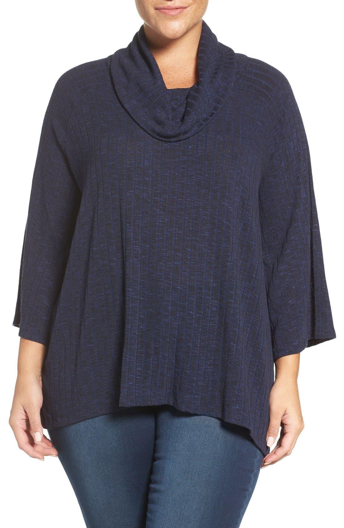 Cowl Neck Top,                         Main,                         color, Navy- Black Pattern
