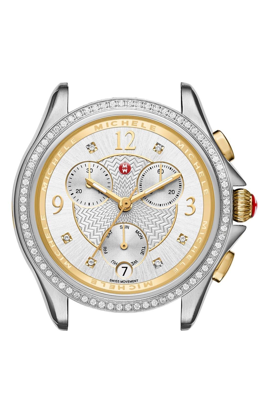 Belmore Chrono Diamond Diamond Dial Watch Case, 37mm,                         Main,                         color, Silver/ Gold