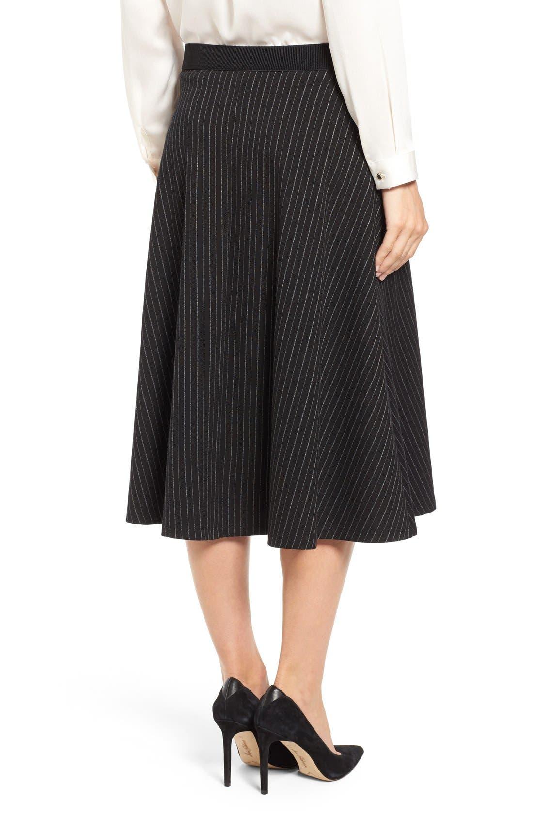 Alternate Image 2  - Bobeau Pinstripe A-Line Midi Skirt