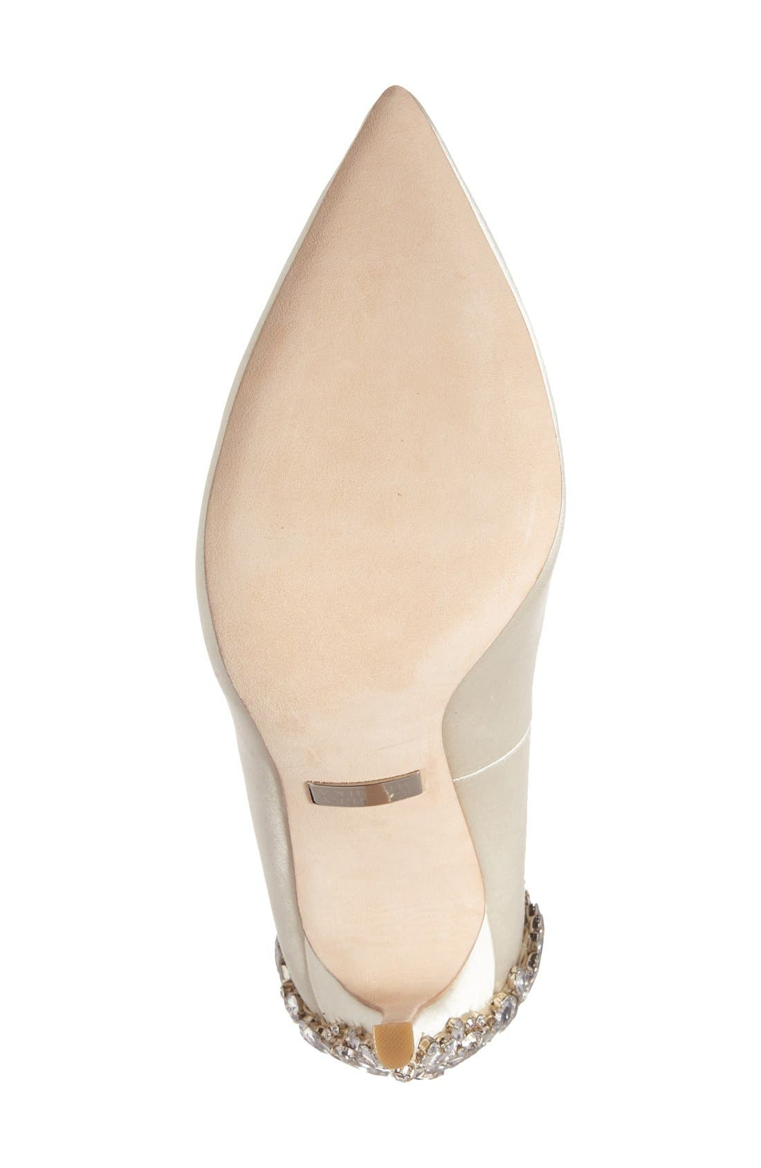 'Gorgeous' Crystal Embellished Pointy Toe Pump,                             Alternate thumbnail 4, color,                             Ivory Satin