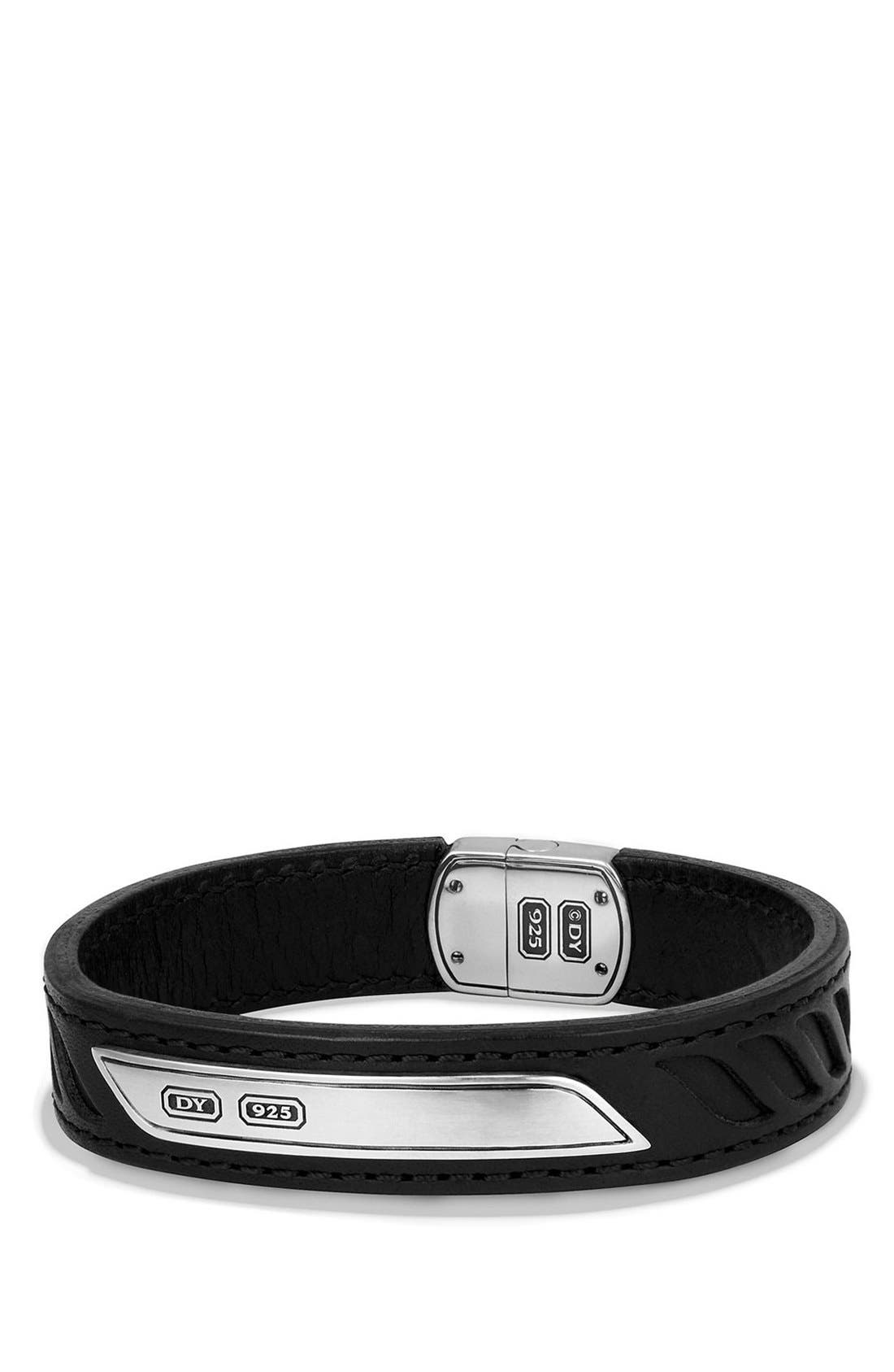 'Graphic Cable' Leather ID Bracelet,                         Main,                         color, Silver/ Black