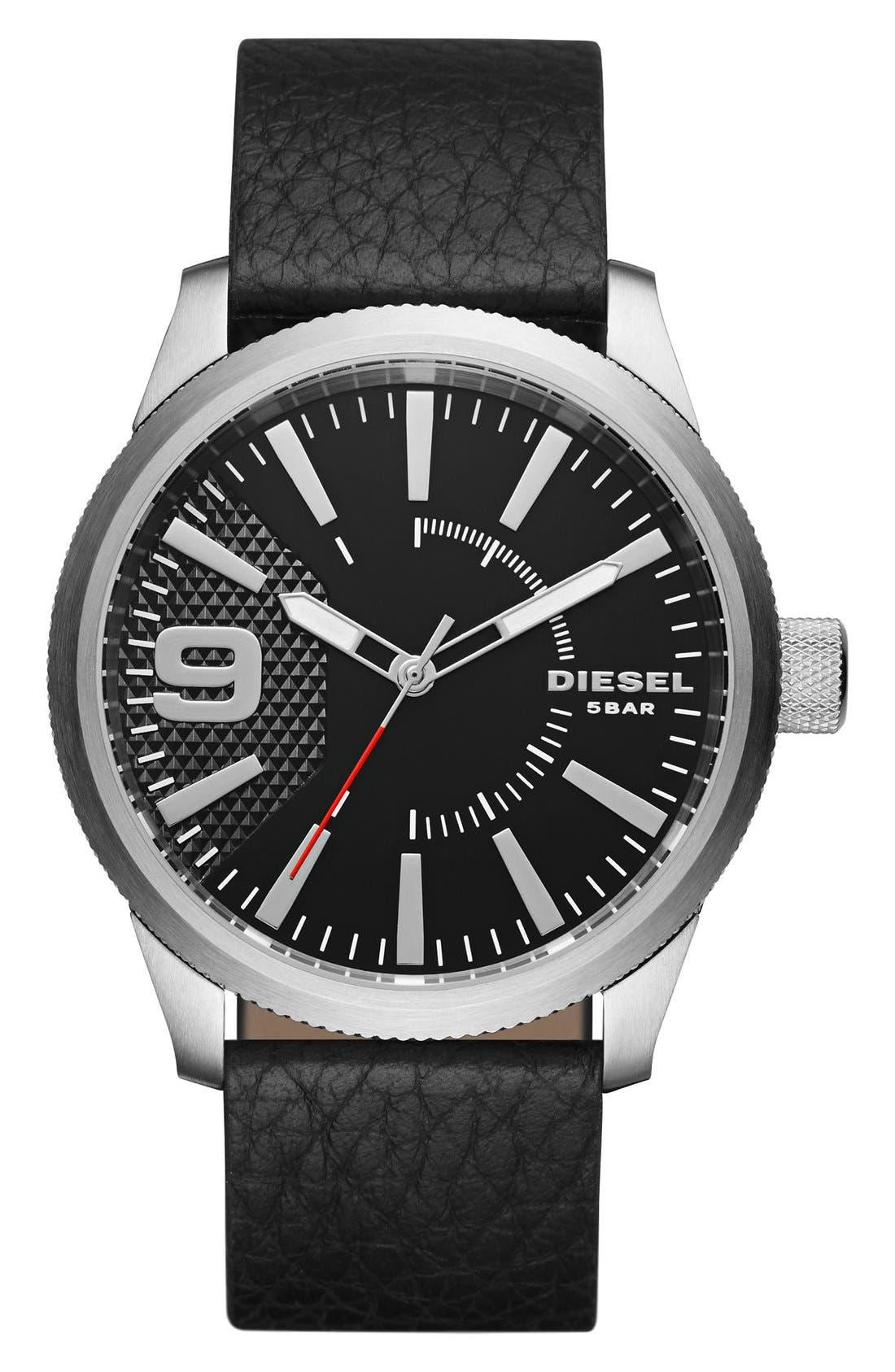 DIESEL® 'Rasp' Leather Strap Watch, 46mm