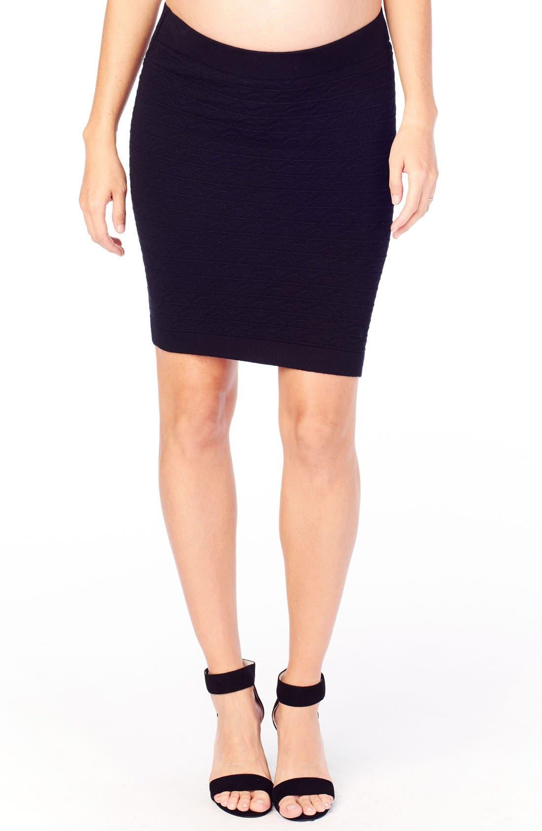 Ingrid & Isabel Textured Knit Maternity Skirt,                         Main,                         color, Jet Black