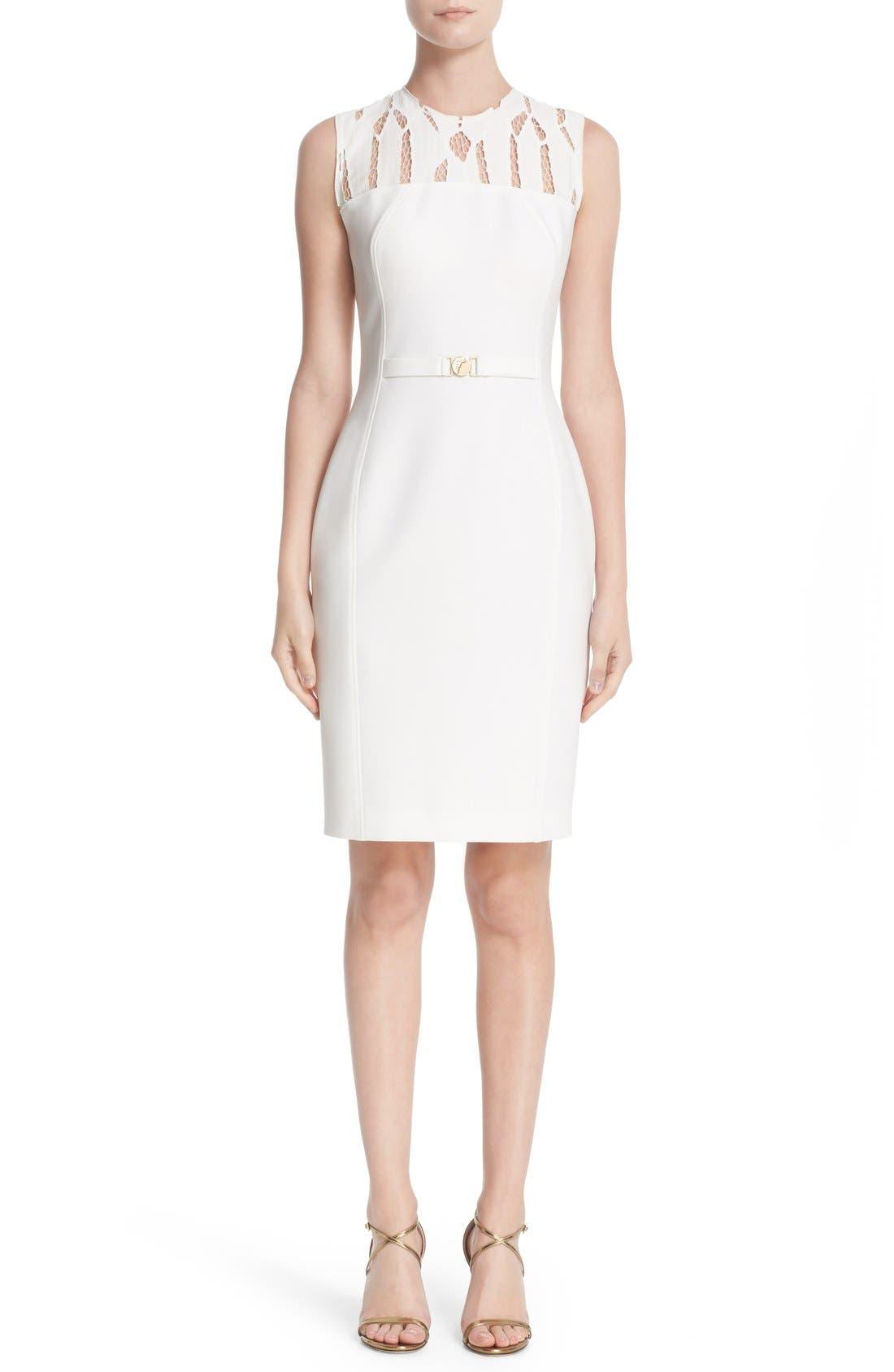 Alternate Image 1 Selected - Versace Cutout Bodice Stretch Cady Sheath Dress