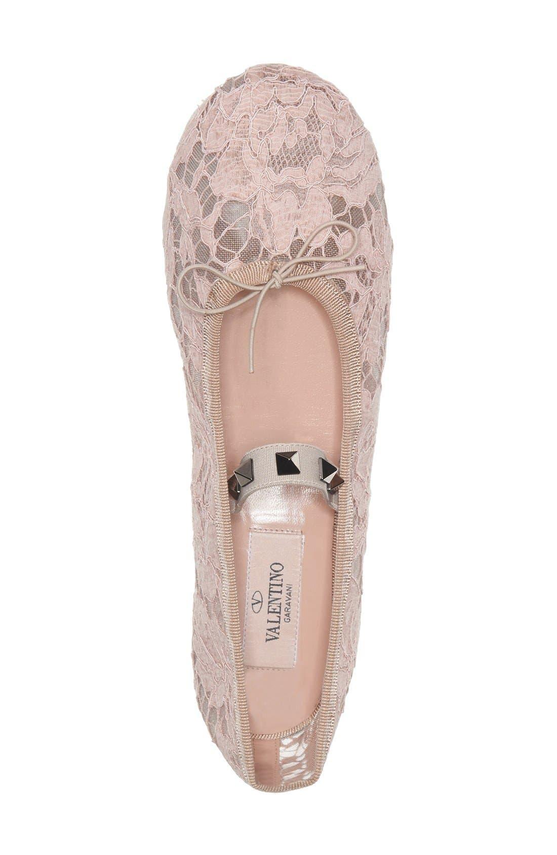 Alternate Image 4  - Valentino 'Rockstud' Lace Ballet Flat (Women)