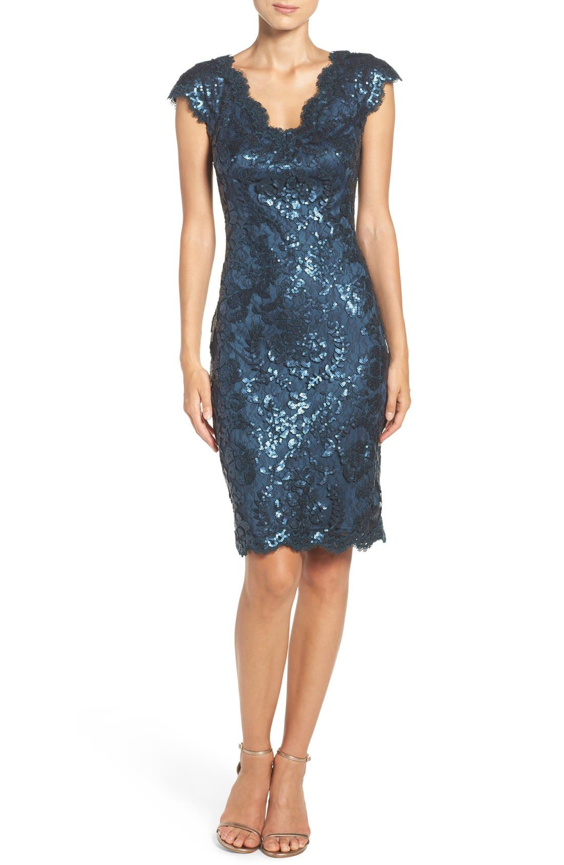 Alternate Image 4  - Tadashi Shoji Sequin Sheath Dress (Regular & Petite)