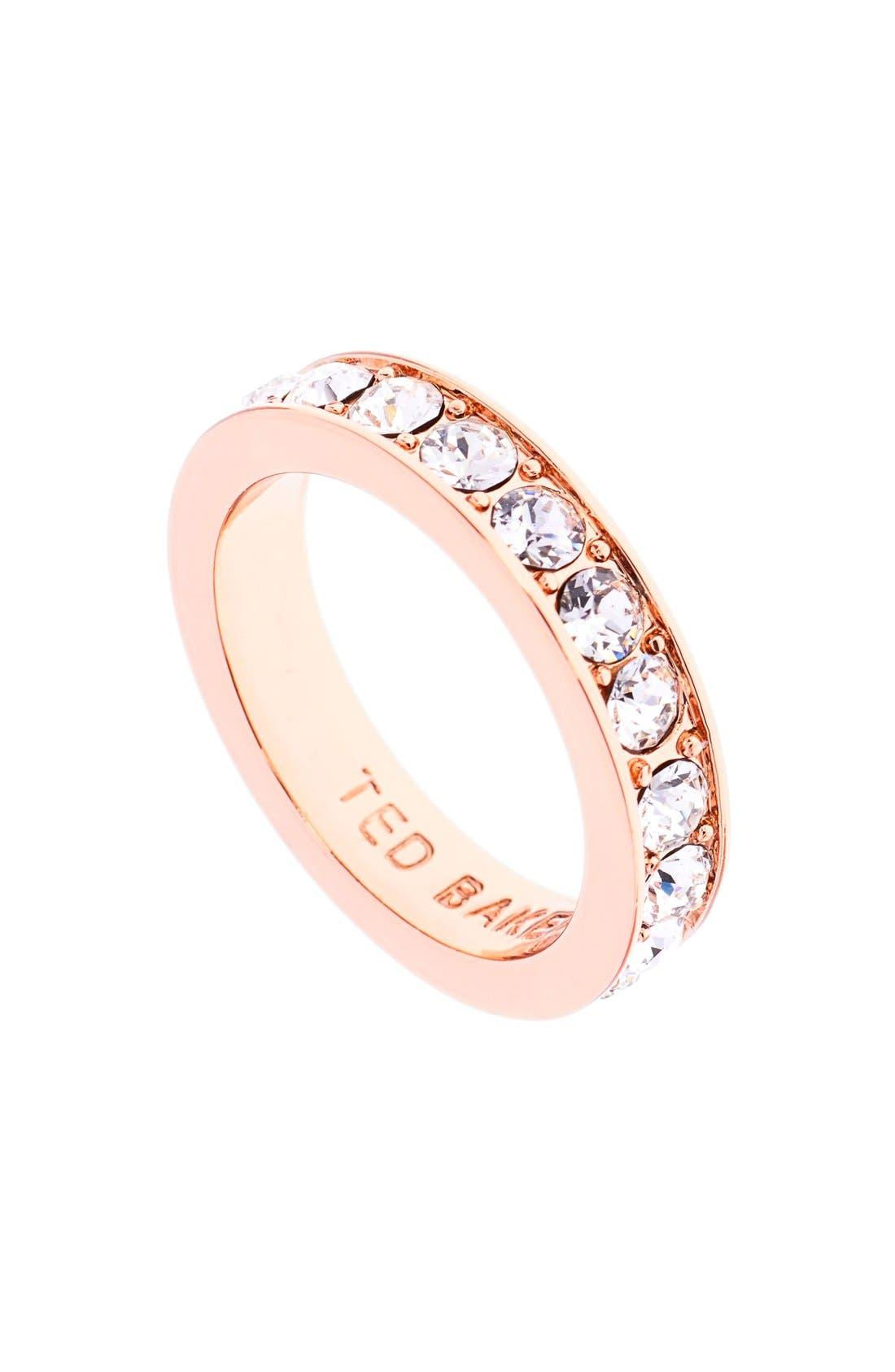 'Claudie' Crystal Ring,                             Main thumbnail 1, color,                             Gold/ Crystal