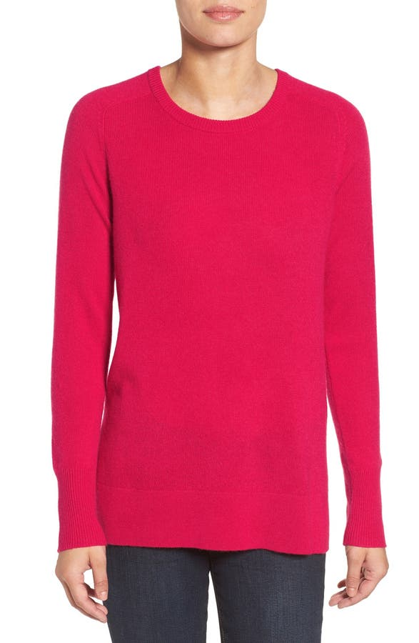 Halogen® Crewneck Lightweight Cashmere Sweater (Regular & Petite ...
