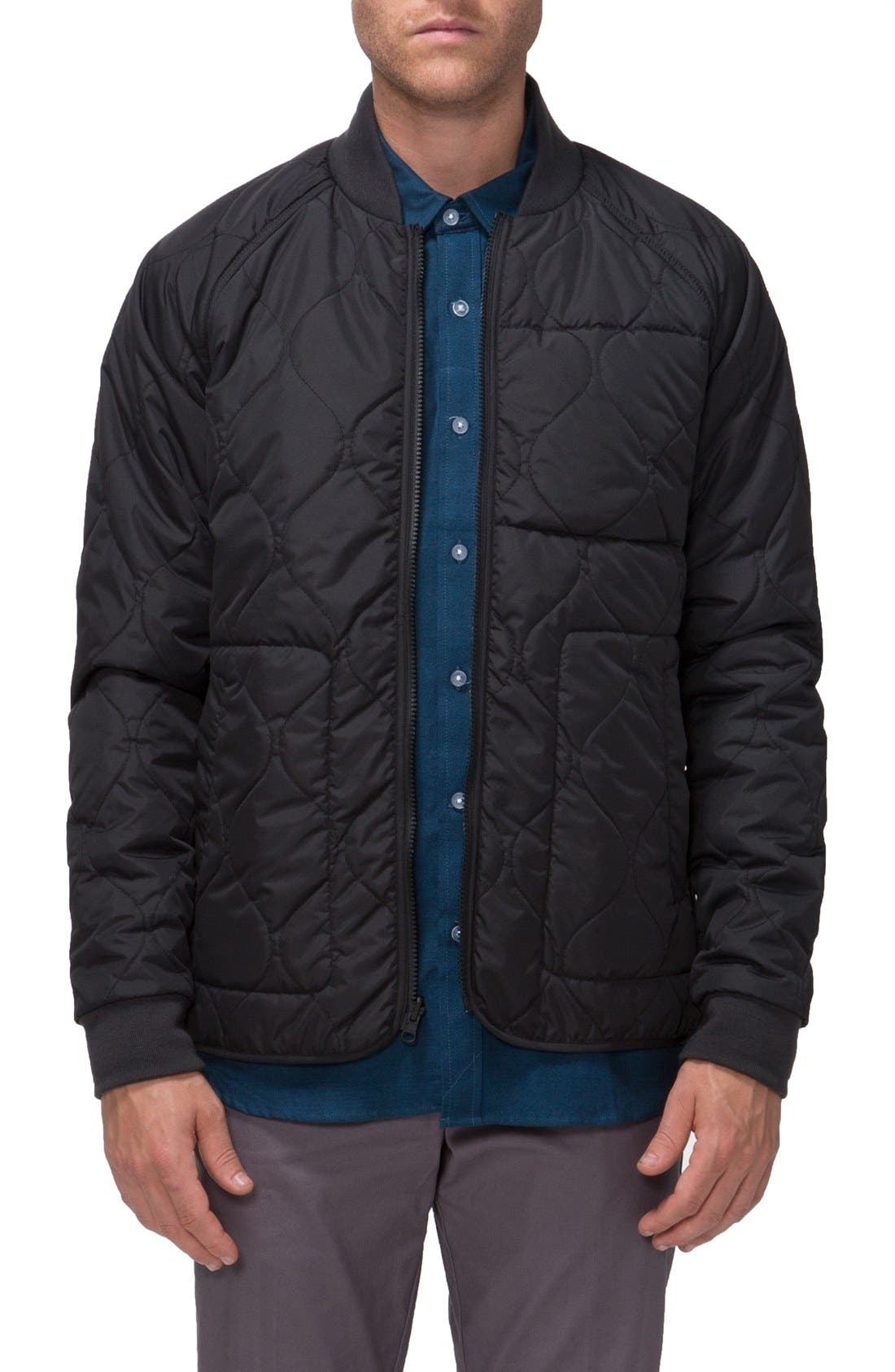 Fullton Zip-In Compatible Quilted Bomber Jacket,                         Main,                         color, Black